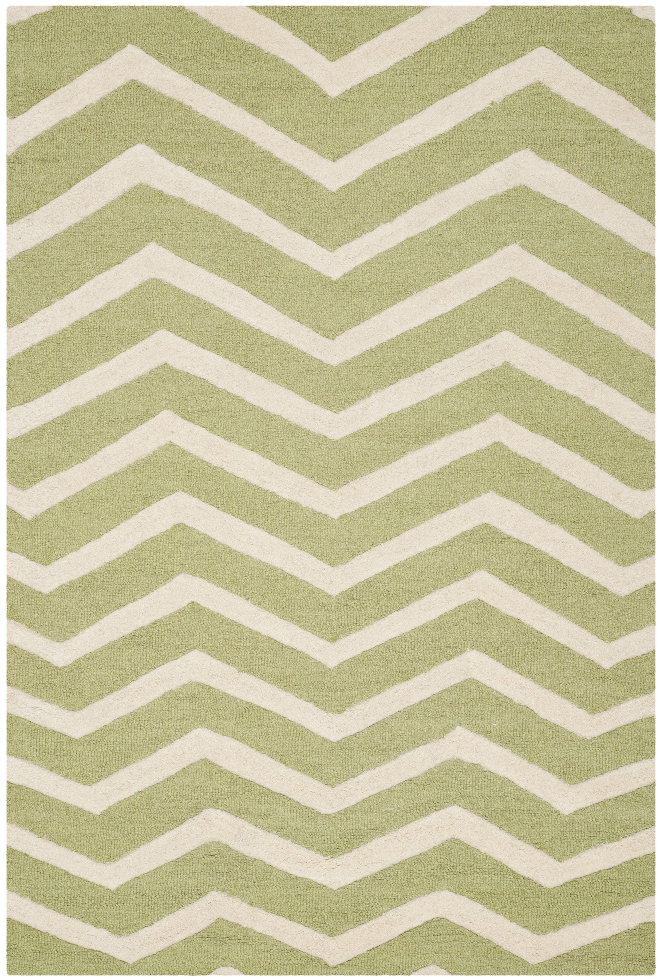 Charlenne Hand-Tufted Wool Green/Ivory Area Rug Rug Size: Rectangle 5' x 8'
