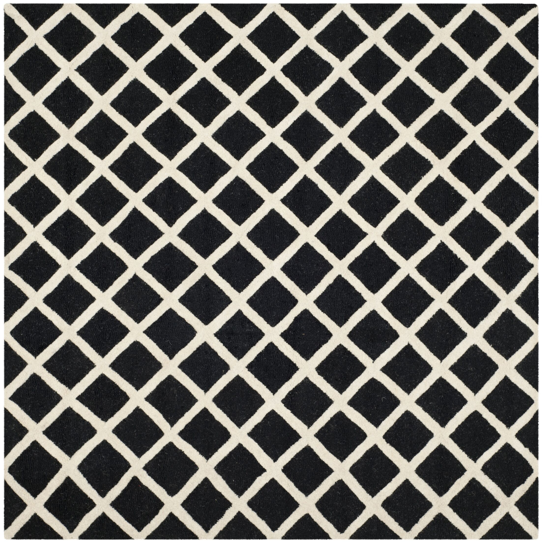 Martins Hand-Tufted Wool Black/White Area Rug Rug Size: Square 8'