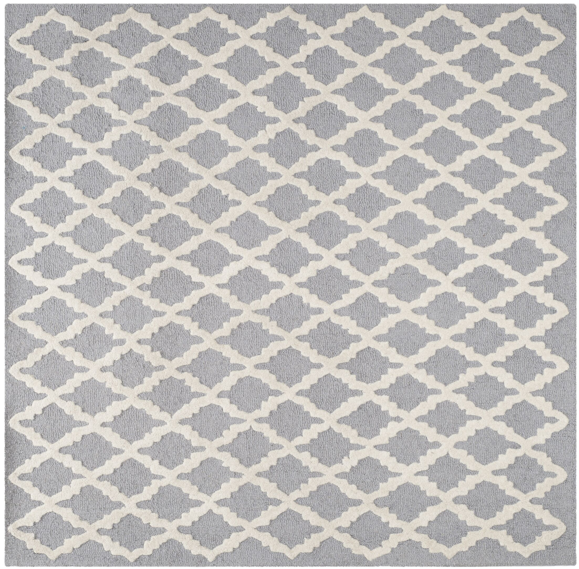 Charlenne Hand-Tufted Wool Silver/Ivory Area Rug Rug Size: Square 6'