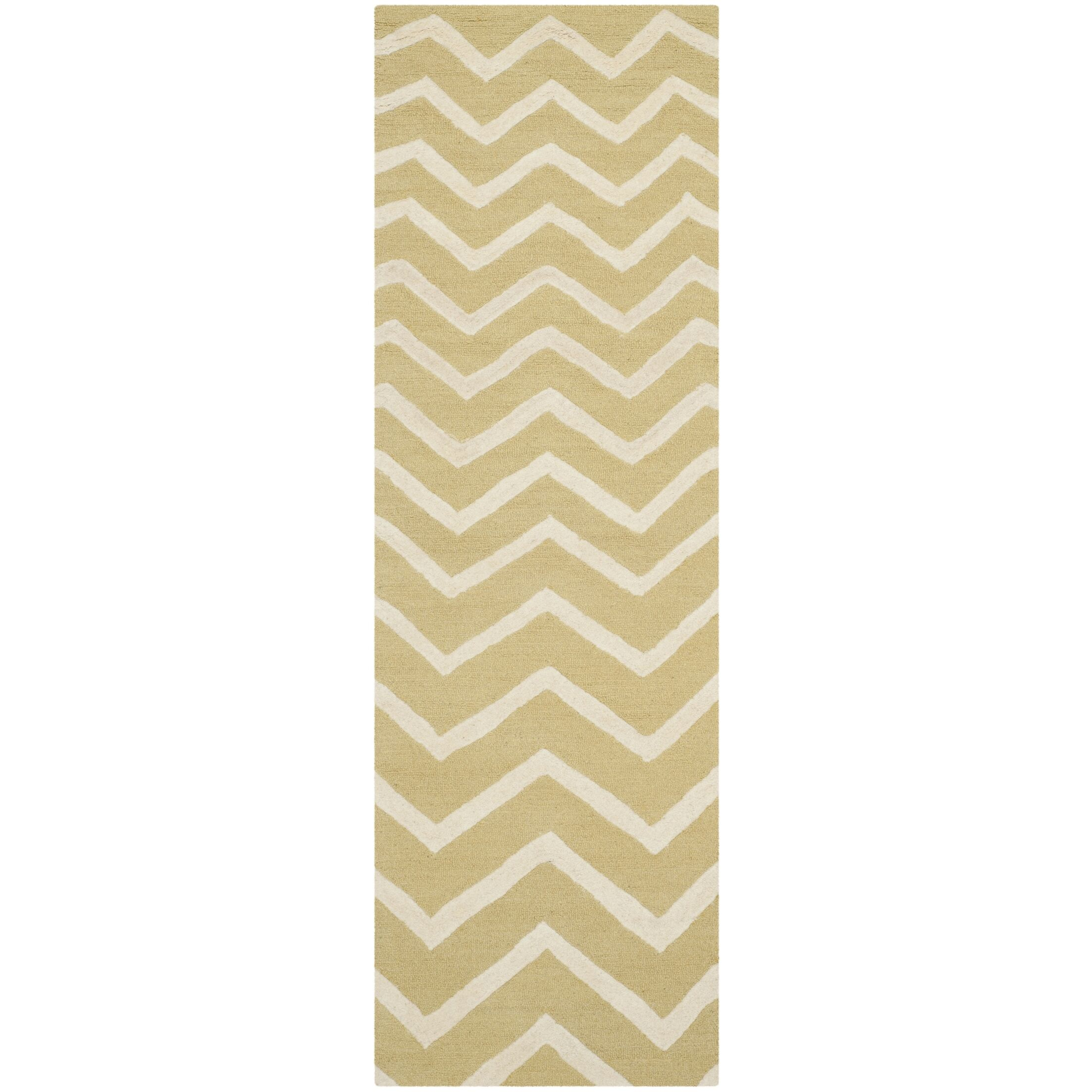 Charlenne Hand-Tufted Wool Light Gold/Ivory Area Rug Rug Size: Runner 2'6
