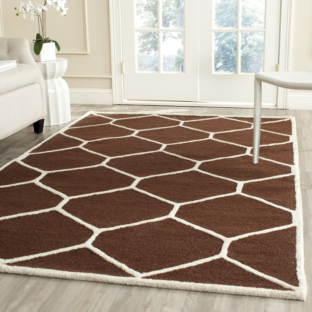 Martins Hand-Tufted Wool Dark Brown Area Rug Rug Size: Square 8'