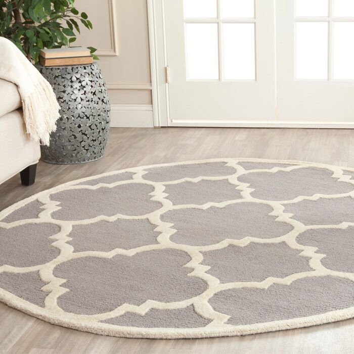 Charlenne Hand-Tufted Wool Silver/Ivory Area Rug Rug Size: Round 4'
