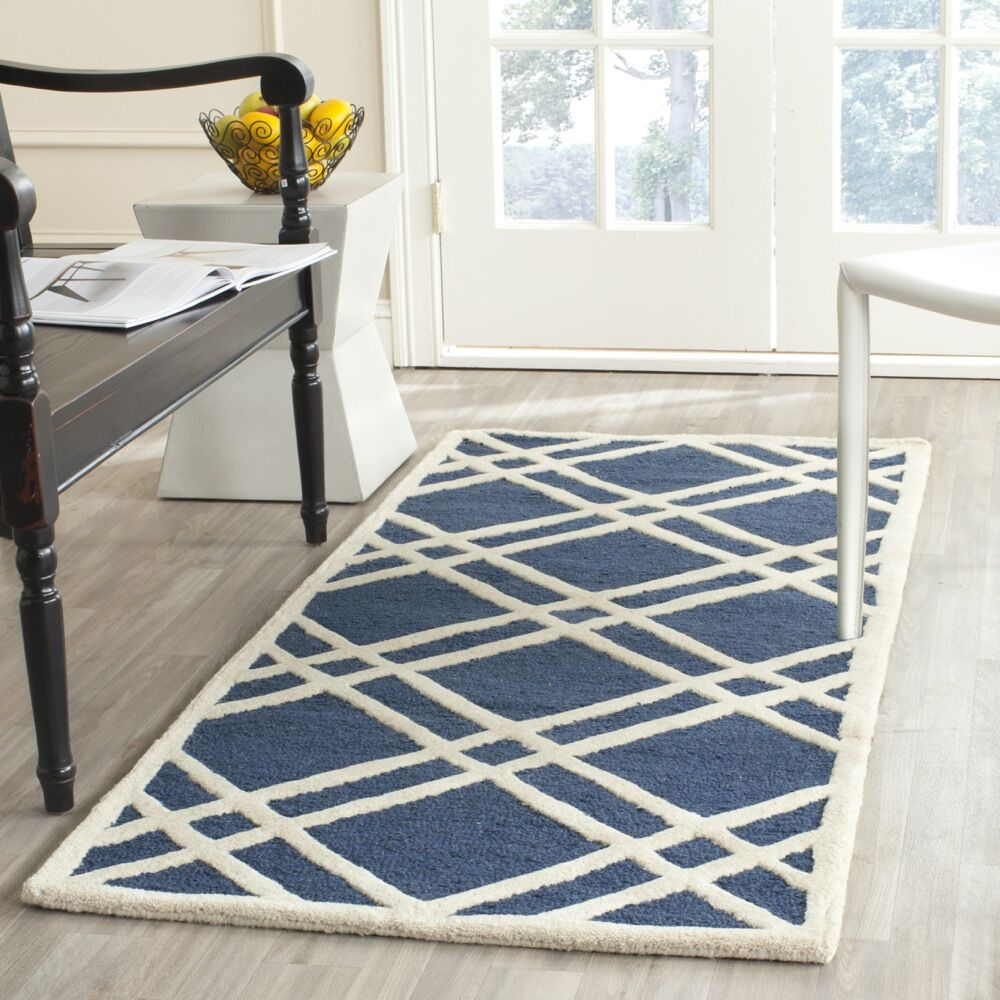 Martins Hand-Tufted Wool Navy Blue/Ivory Area Rug Rug Size: Rectangle 9' x 12'
