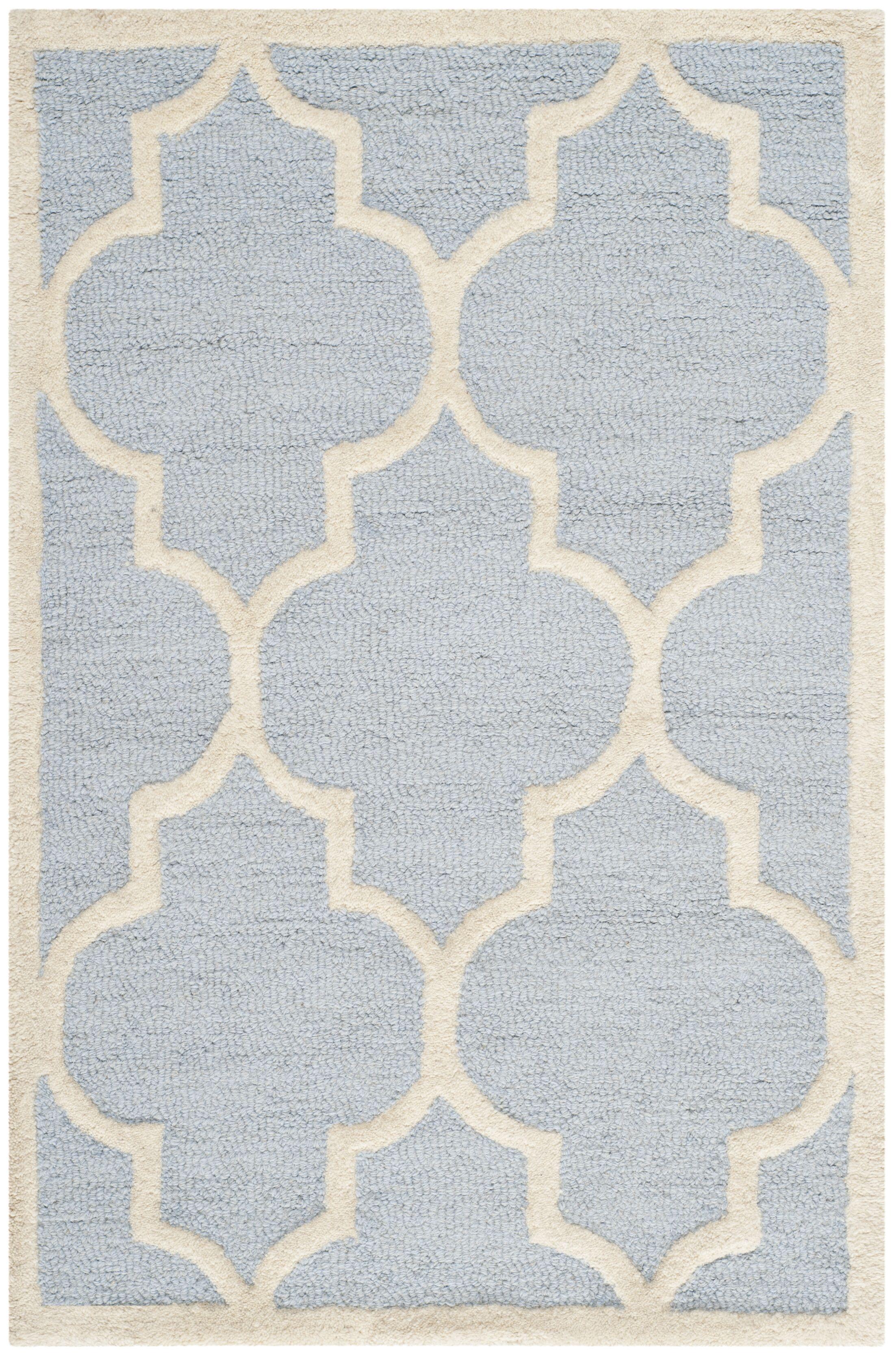 Charlenne Hand-Tufted Wool Light Blue/Ivory Area Rug Rug Size: Rectangle 11' x 15'