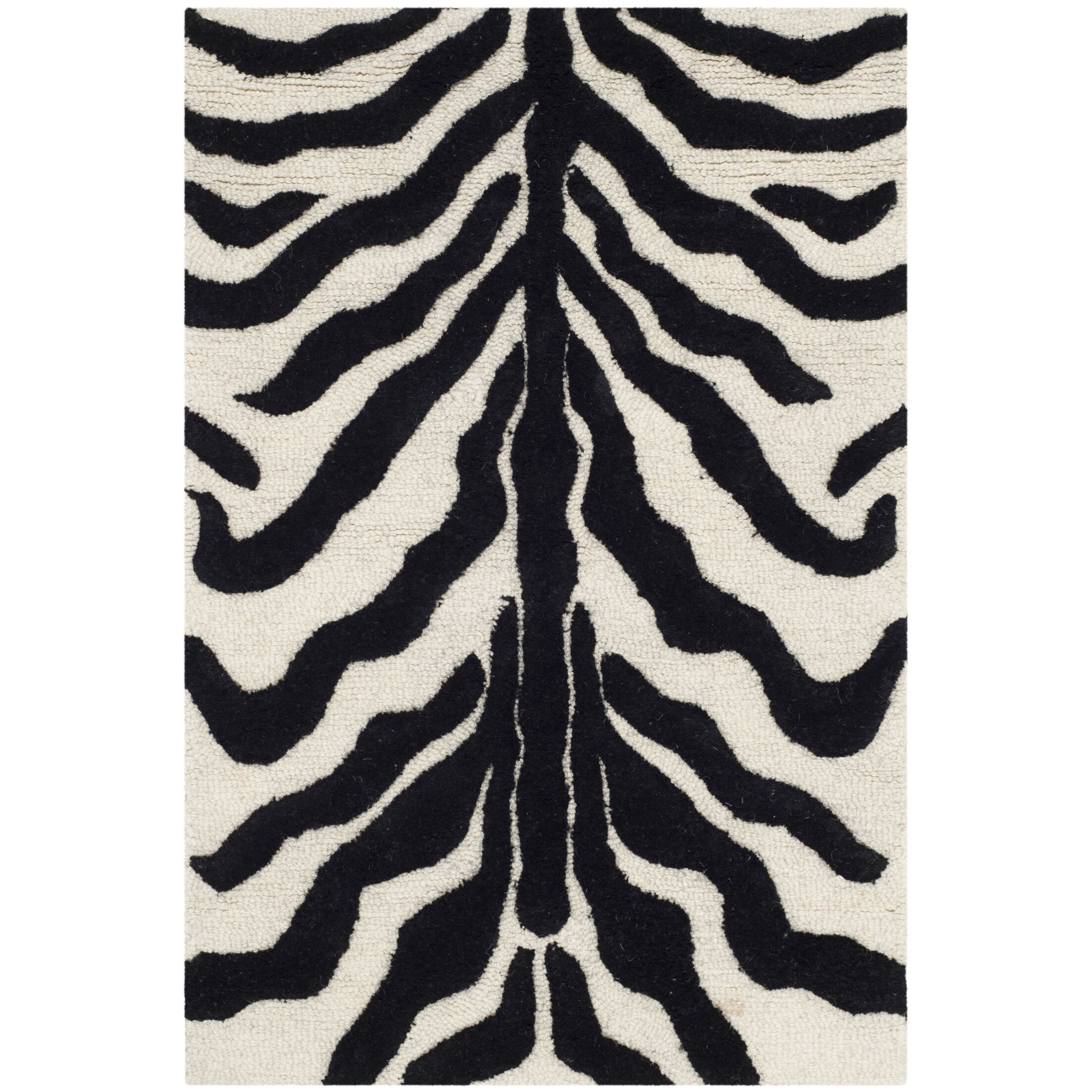 Roloff Hand-Tufted Wool Ivory/Black Area Rug Rug Size: Rectangle 3' x 5'