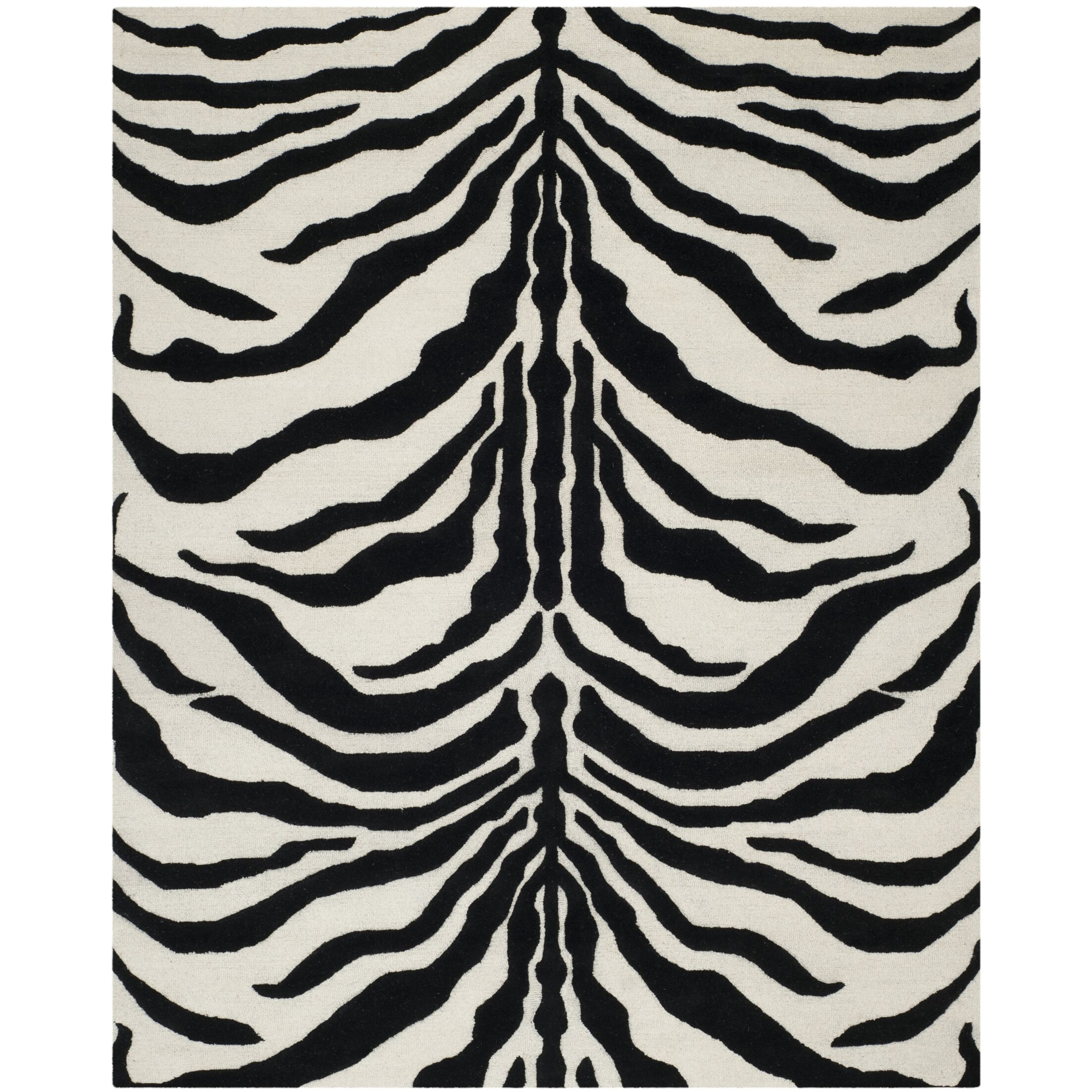Roloff Hand-Tufted Wool Ivory/Black Area Rug Rug Size: Rectangle 6' x 9'