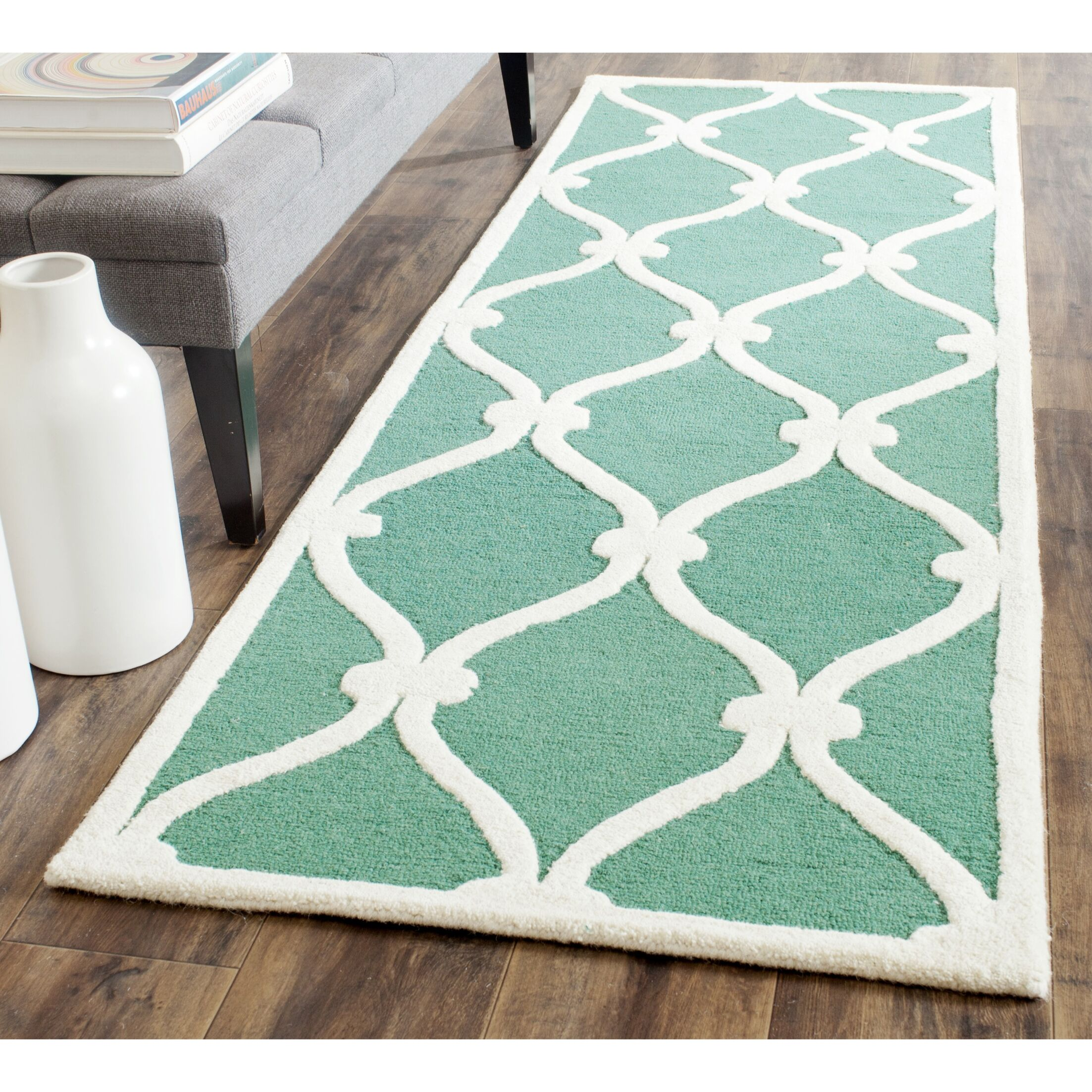 Martins Hand-Tufted Wool Teal/Ivory Area Rug Rug Size: Runner 2'6