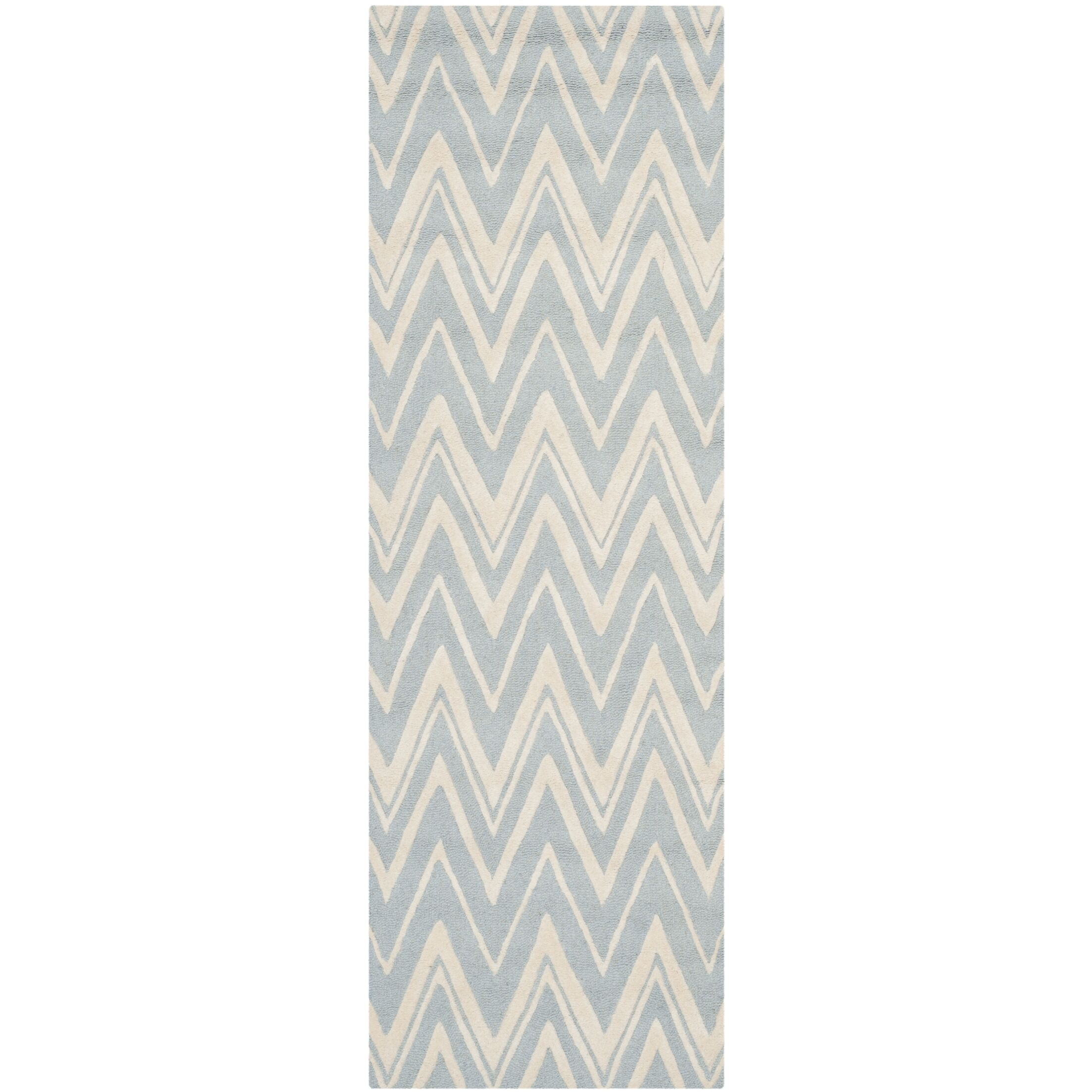 Martins Hand-Tufted Wool Blue/Ivory Area Rug Rug Size: Runner 2'6