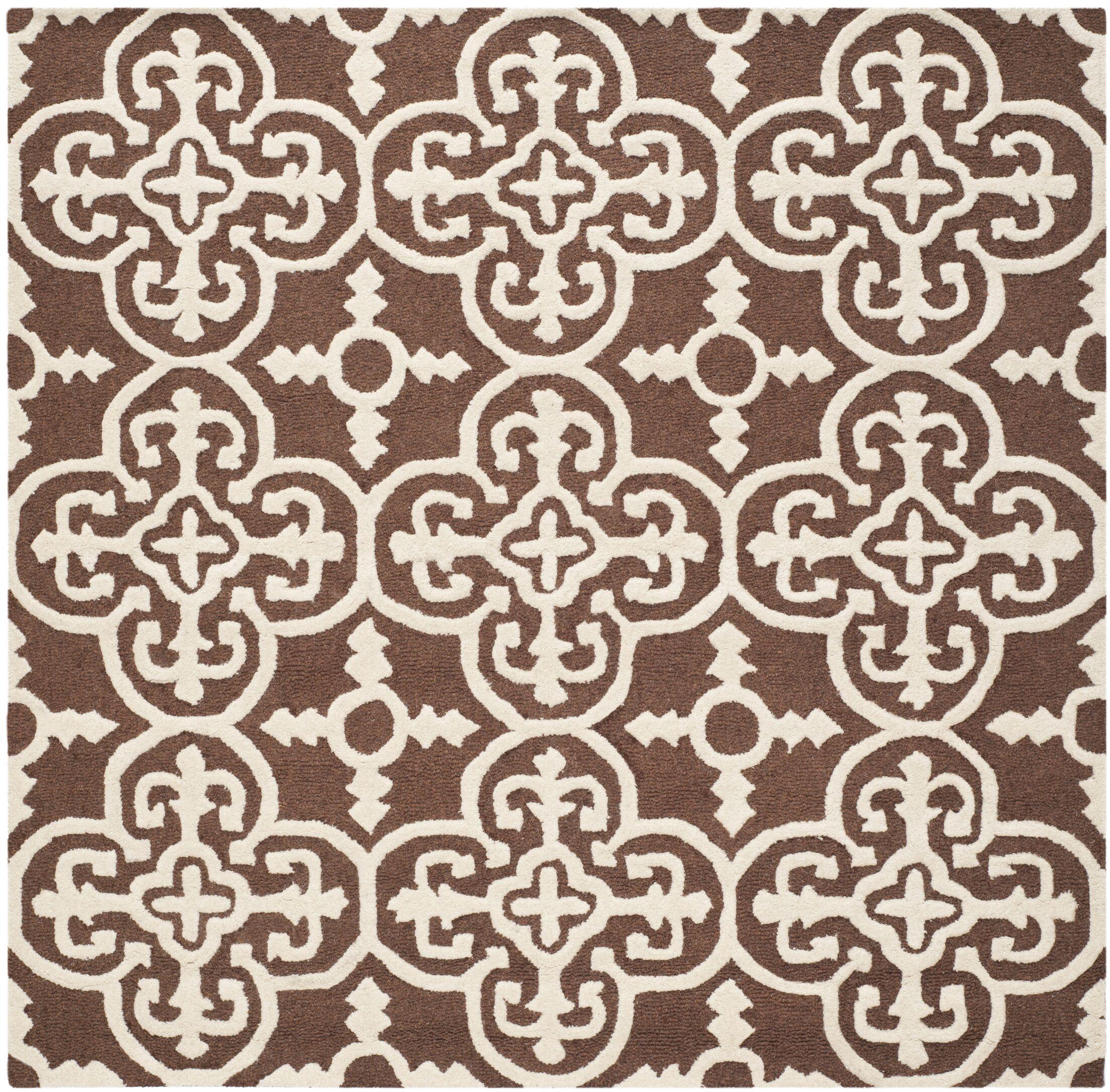 Marlen Dark Brown Area Rug Rug Size: Square 6'