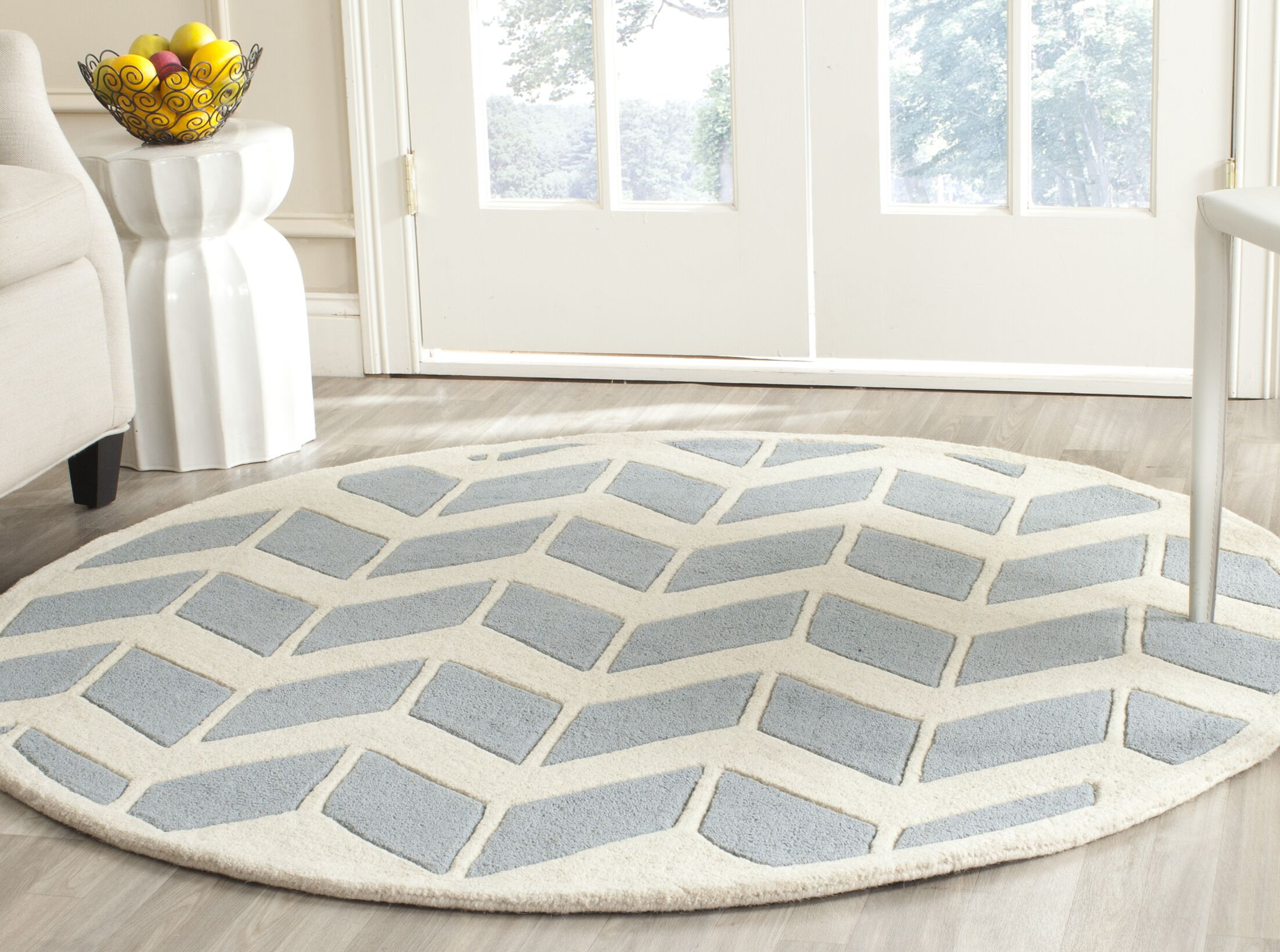 Wilkin Blue / Ivory Moroccan Area Rug Rug Size: Round 5'