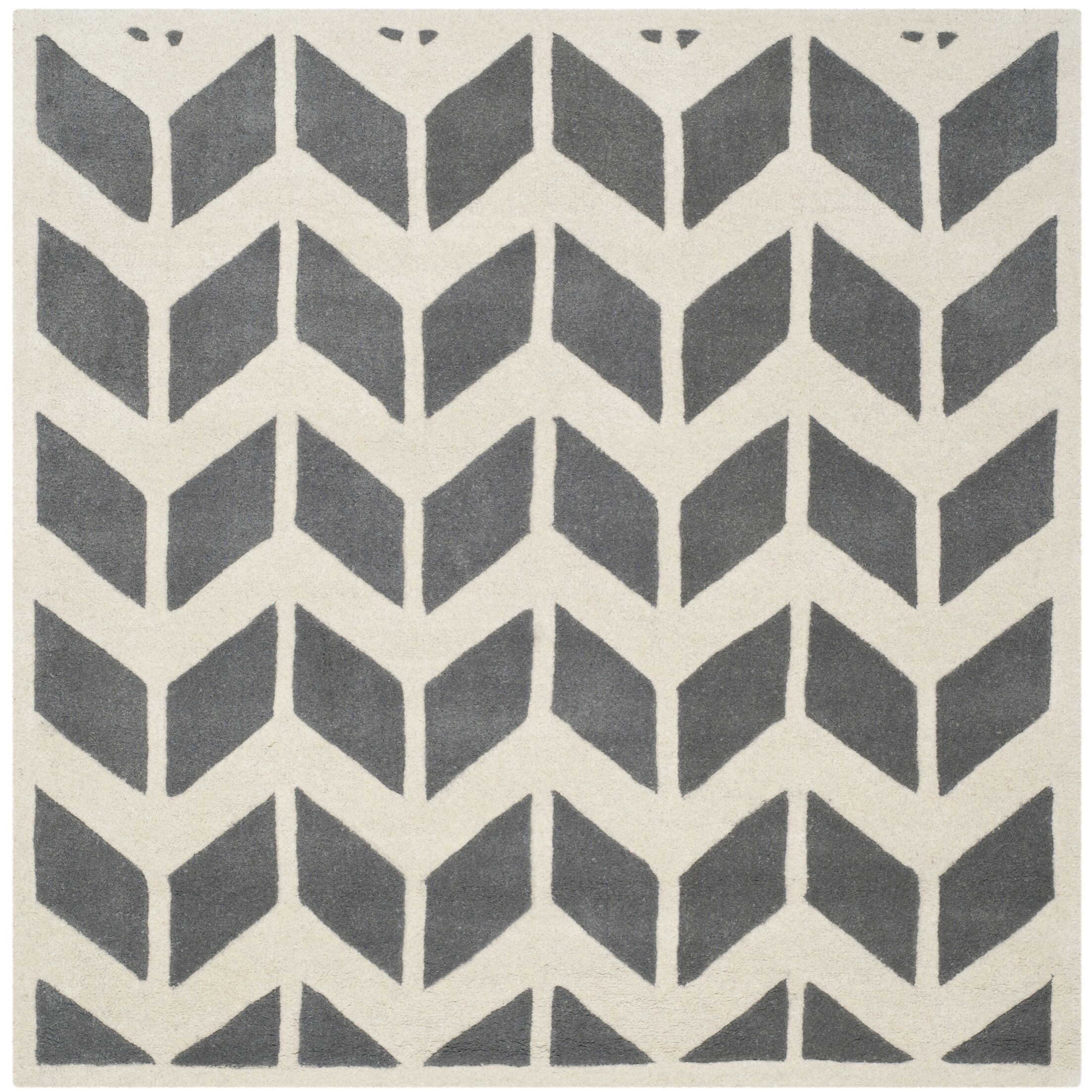 Wilkin Hand-Tufted Wool Dark Gray/Ivory Area Rug Rug Size: Square 7'