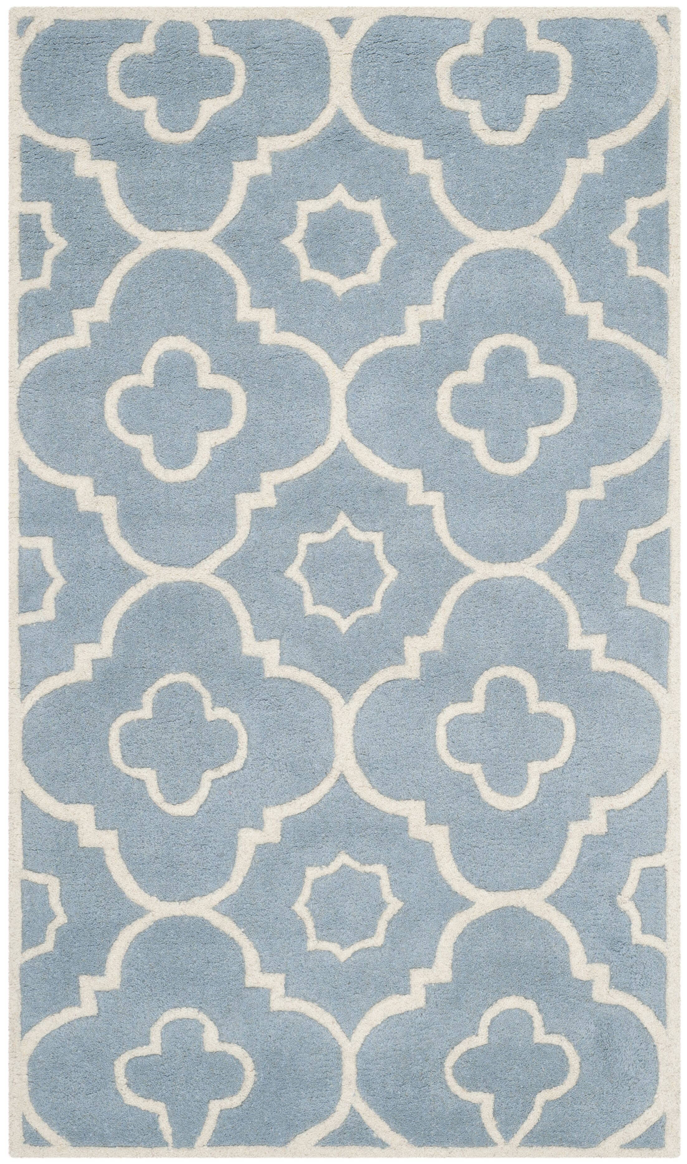 Wilkin Moroccan Hand-Tufted Wool Blue/Ivory Area Rug Rug Size: Rectangle 3' x 5'