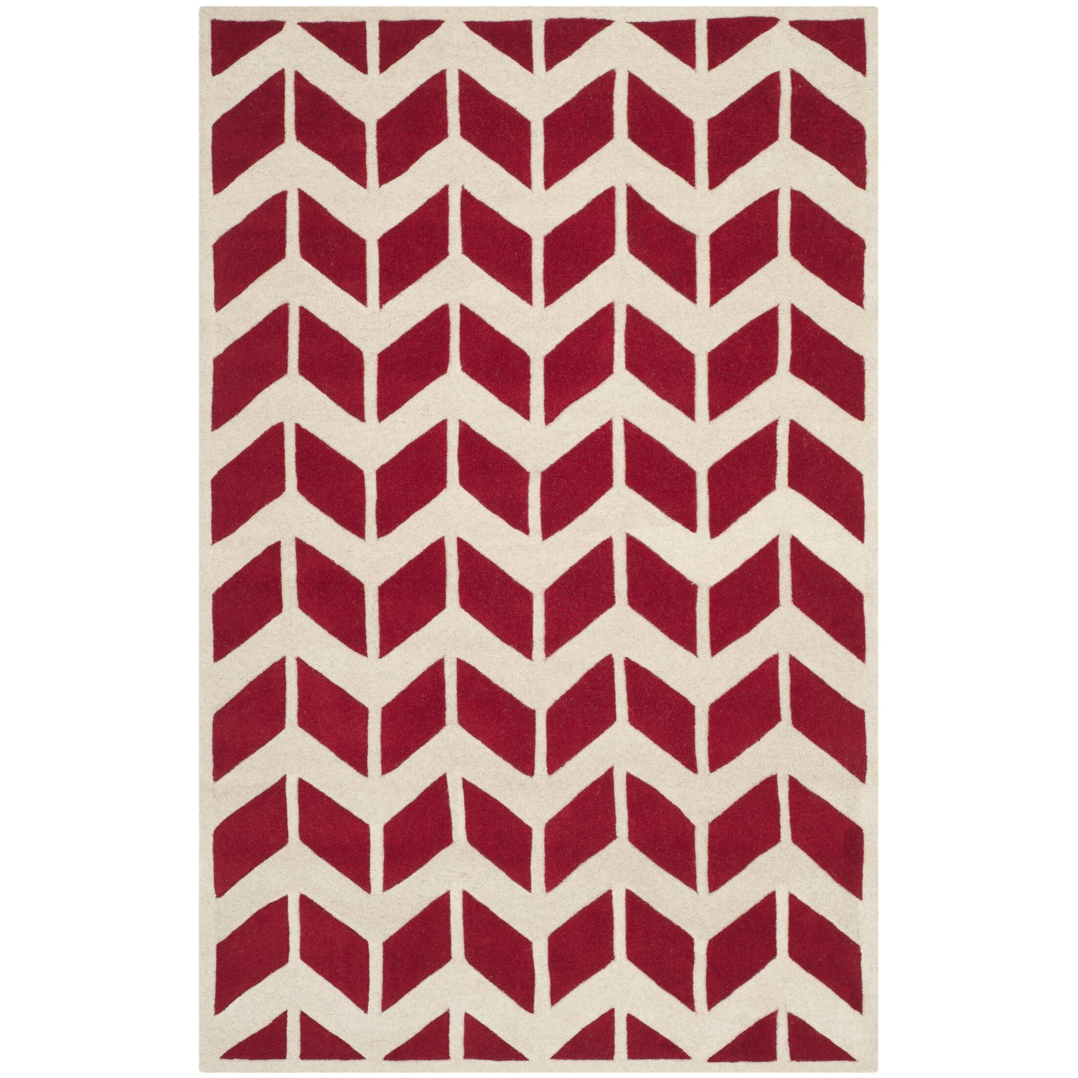 Wilkin Moroccan Hand-Tufted Wool Red/Ivory Area Rug Rug Size: Rectangle 6' x 9'
