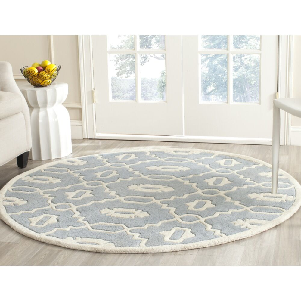 Wilkin Moroccan Hand-Tufted Wool Blue/Ivory Area Rug Rug Size: Round 5'