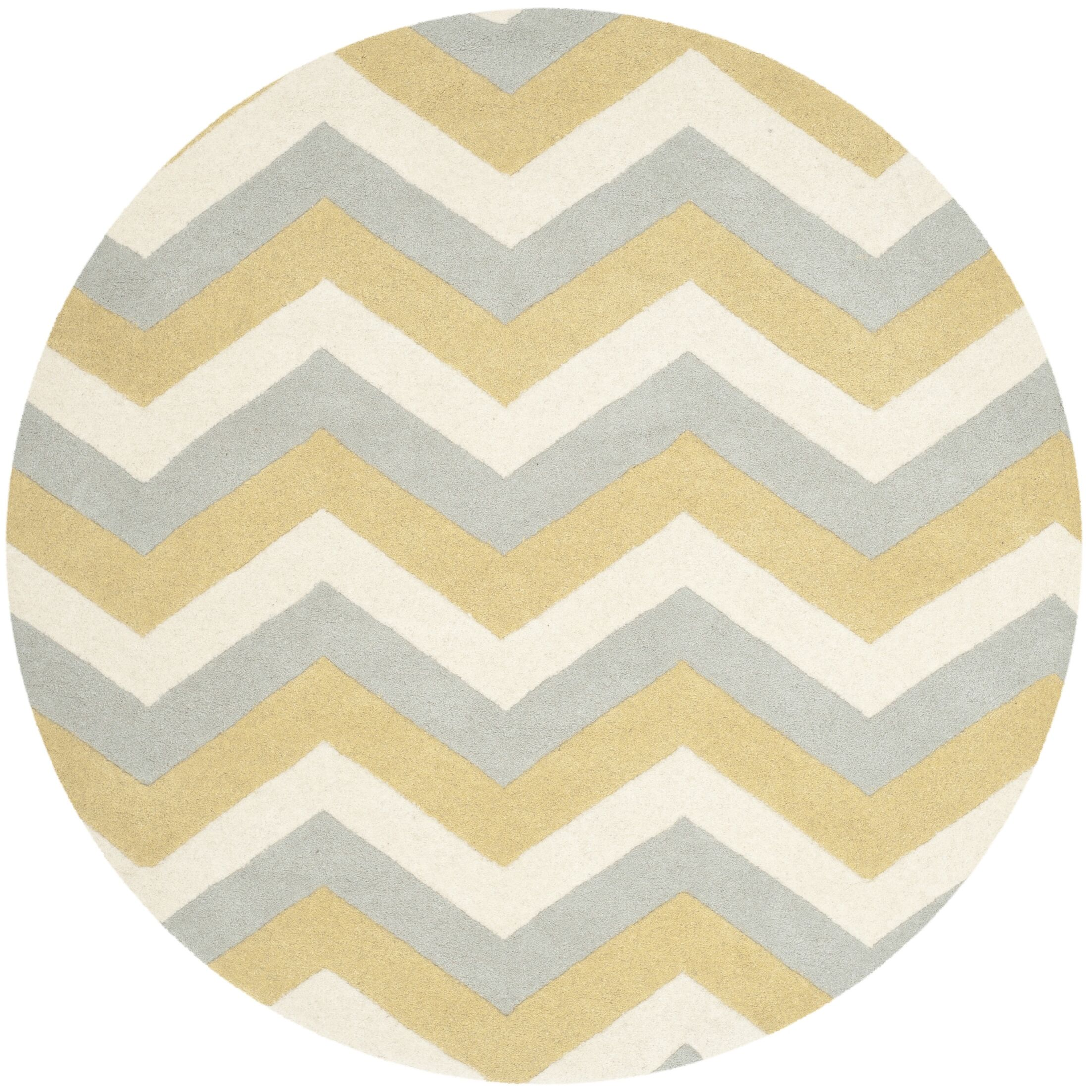 Wilkin Chevron Contemporary Area Rug Rug Size: Round 7'