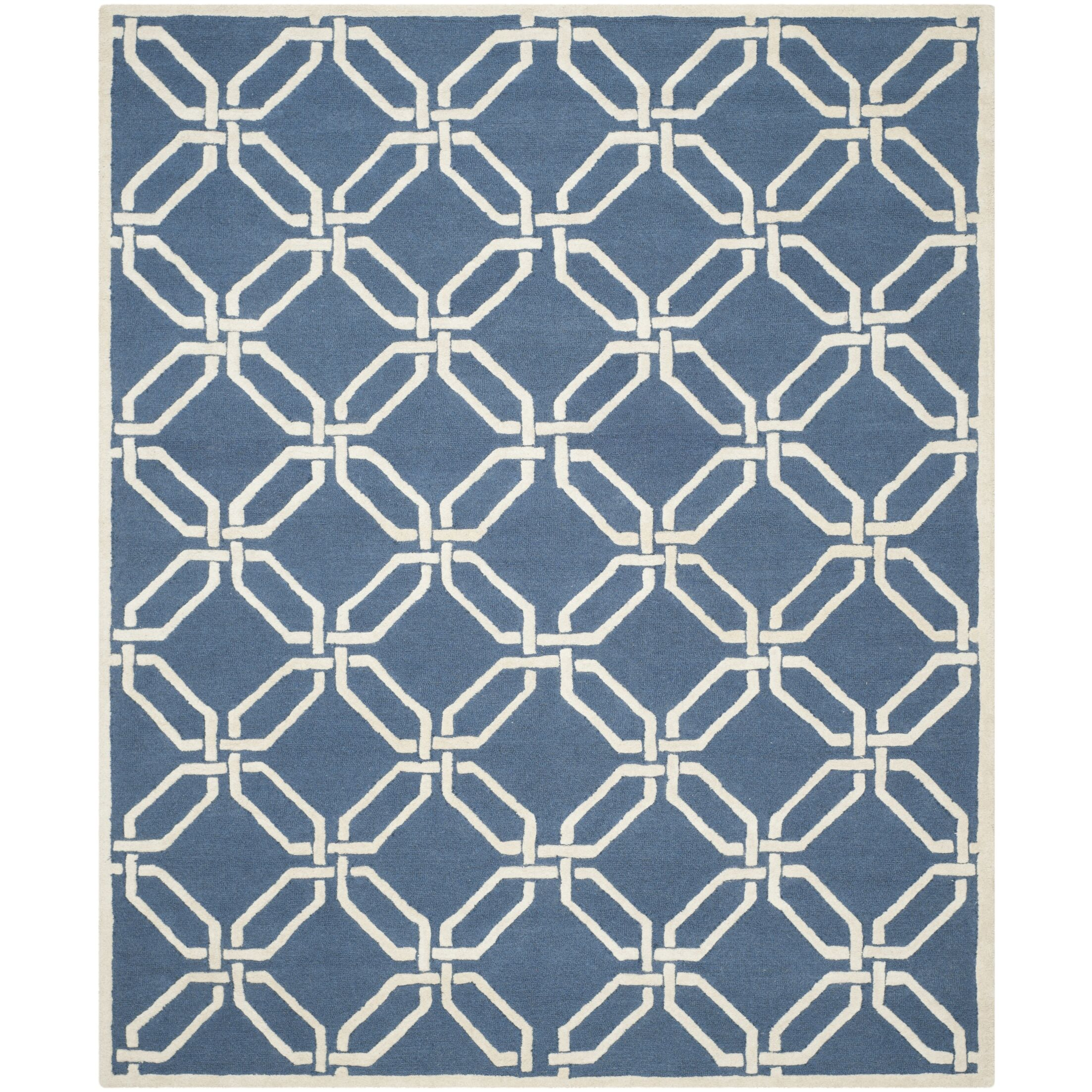Martins Hand-Tufted Navy/Ivory Area Rug Rug Size: Rectangle 8' x 10'