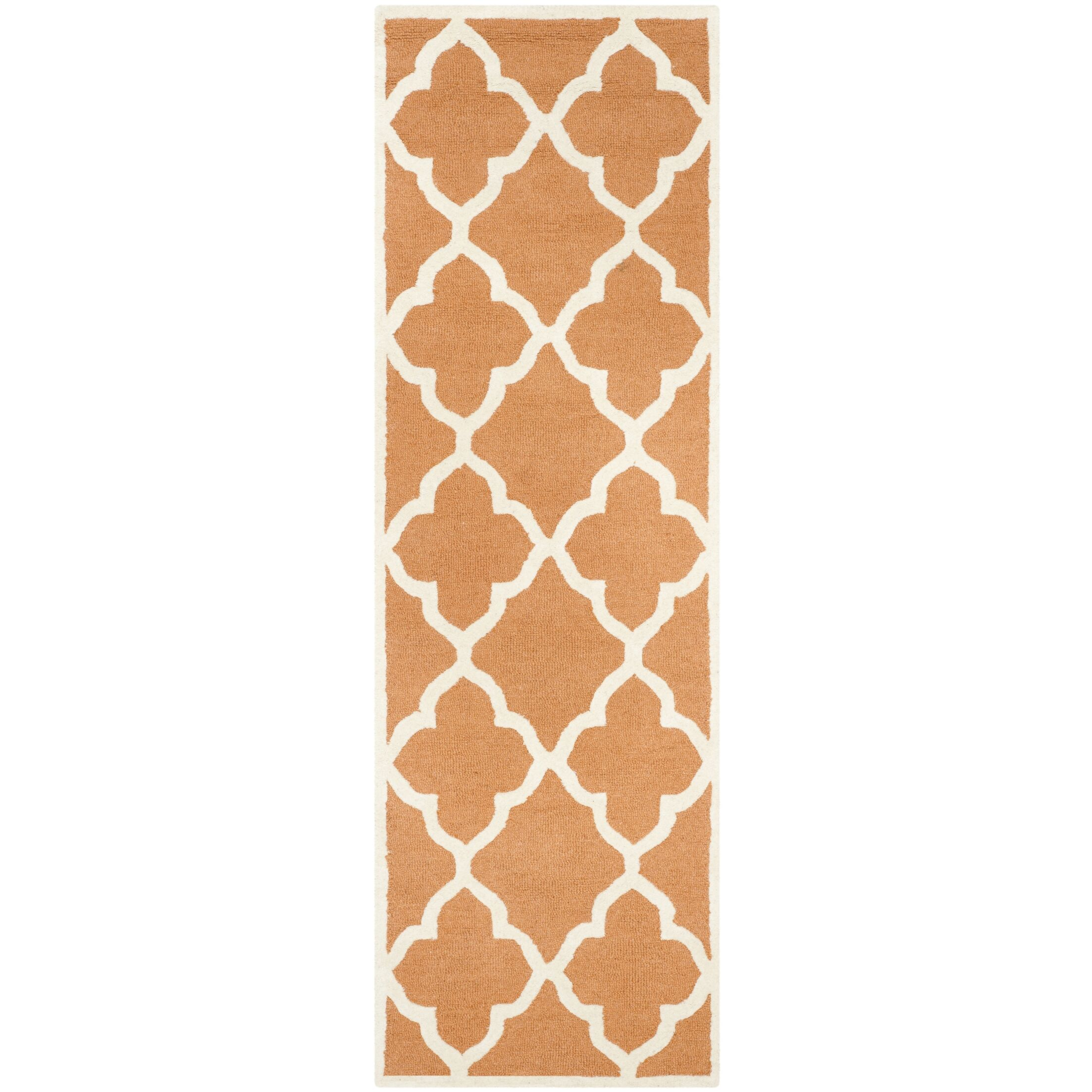 Charlenne Hand-Tufted Orange/Ivory Area Rug Rug Size: Runner 2'6