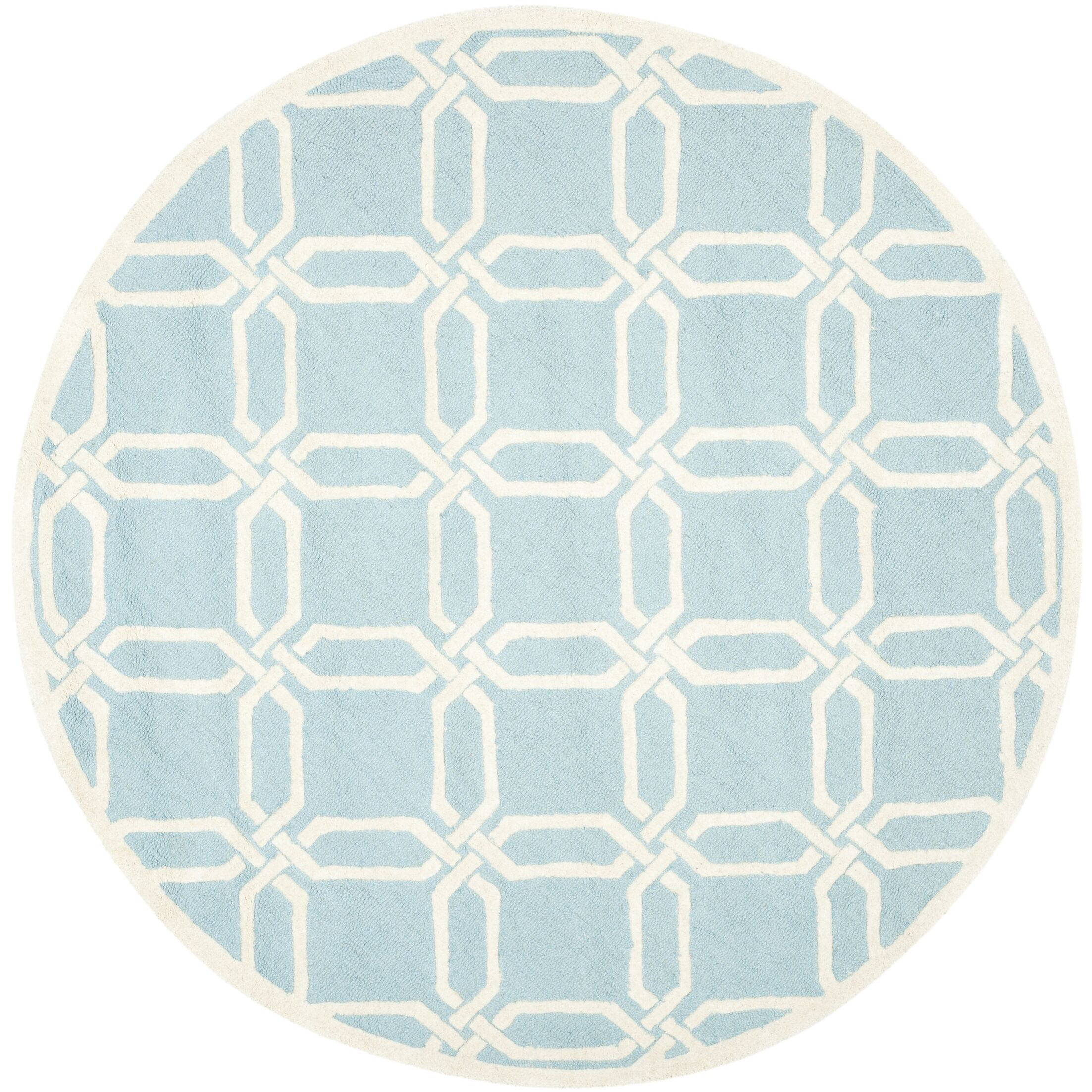 Martins Hand-Tufted Light Blue/Ivory Area Rug Rug Size: Round 6'