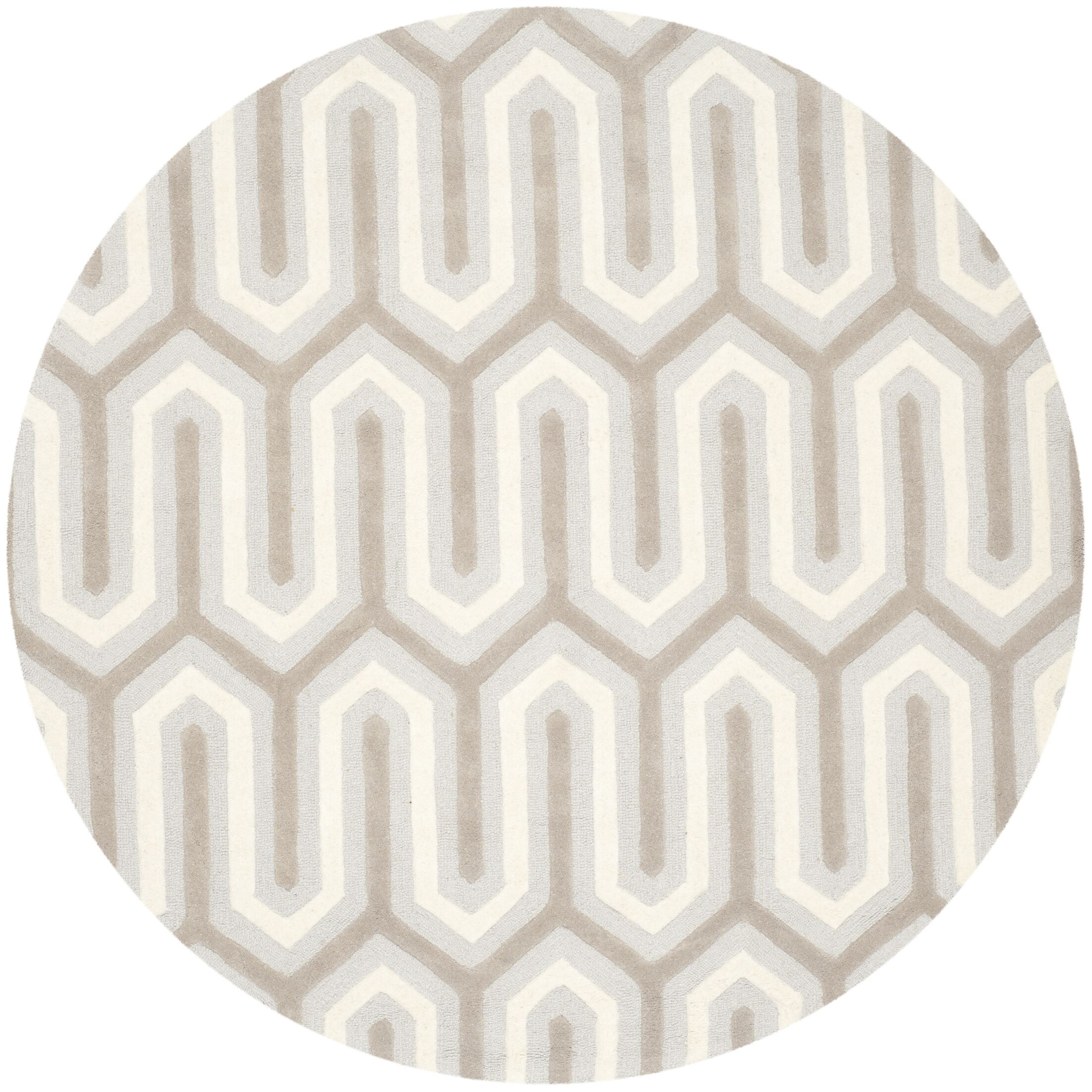 Martins Hand-Tufted Light Gray & Ivory Area Rug Rug Size: Round 6'