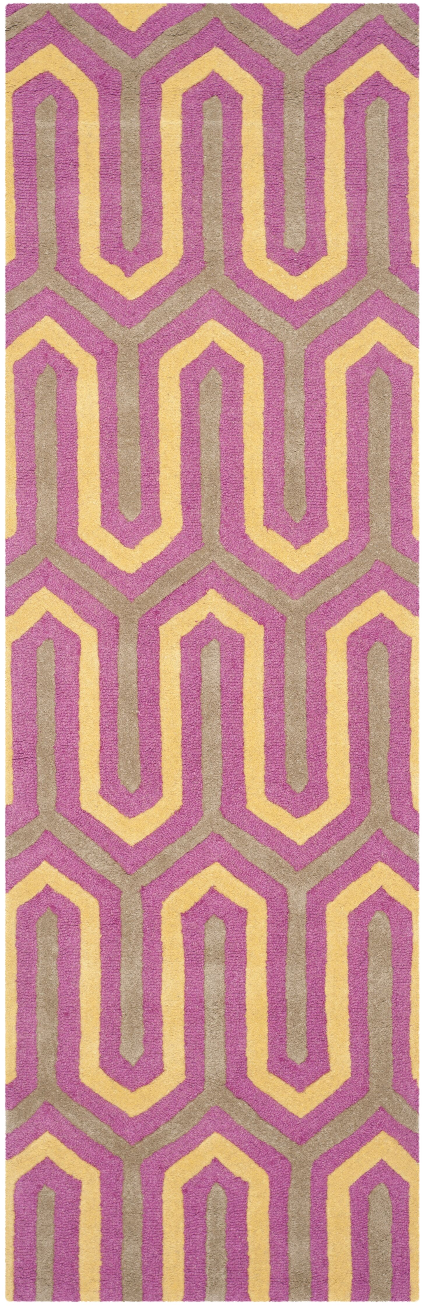 Martins Hand-Tufted Pink/Gray Area Rug Rug Size: Runner 2'6