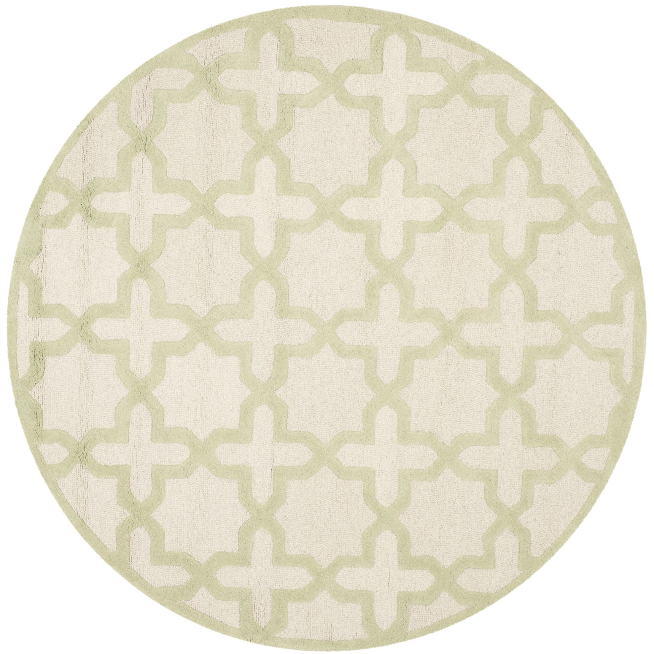 Martins Ivory / Light Green Area Rug Rug Size: Round 6'