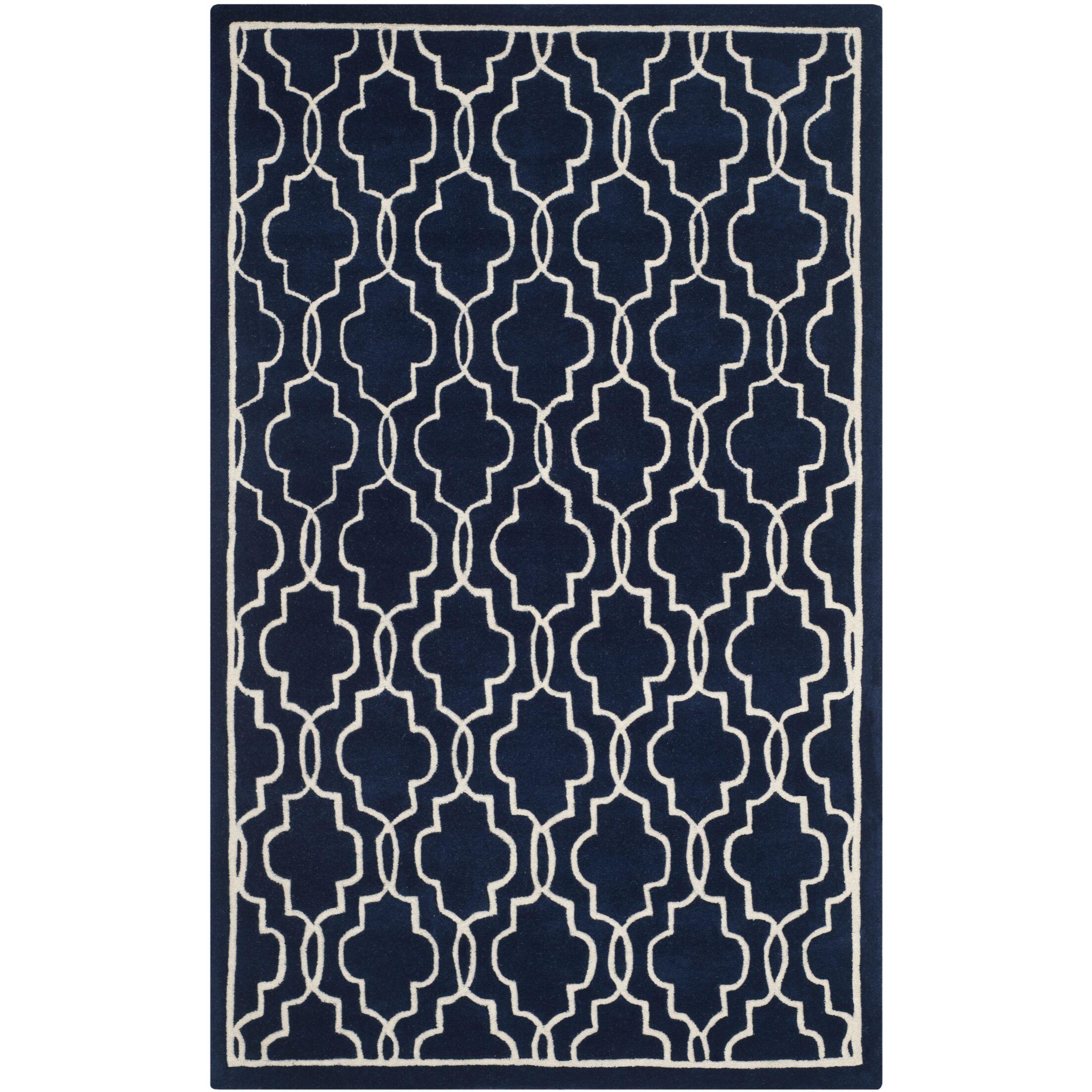Wilkin Hand-Woven Dark Blue/Ivory Area Rug Rug Size: Rectangle 8' x 10'