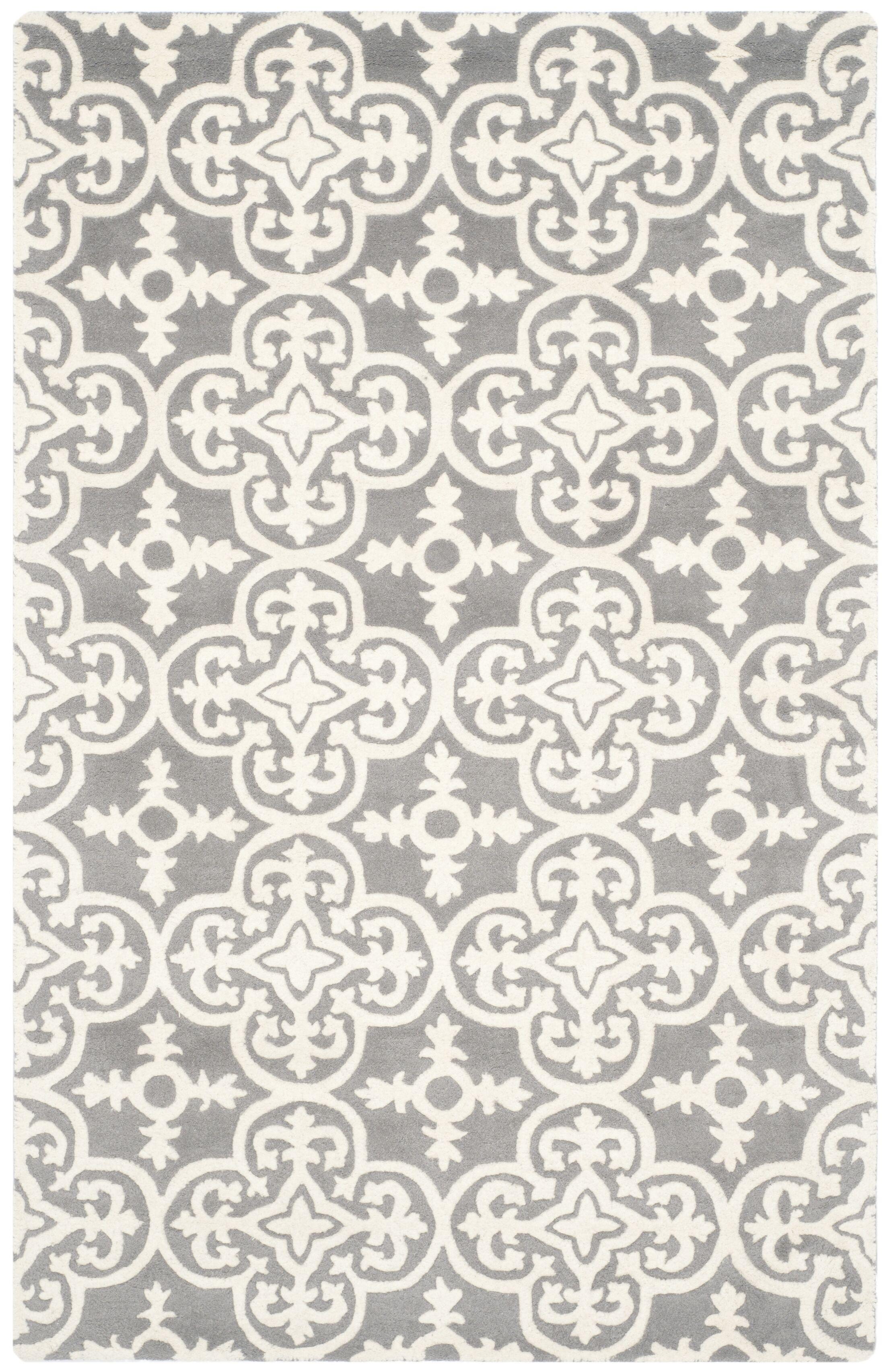 Wilkin Dark Grey / Ivory Contemporary Rug Rug Size: Rectangle 5' x 8'