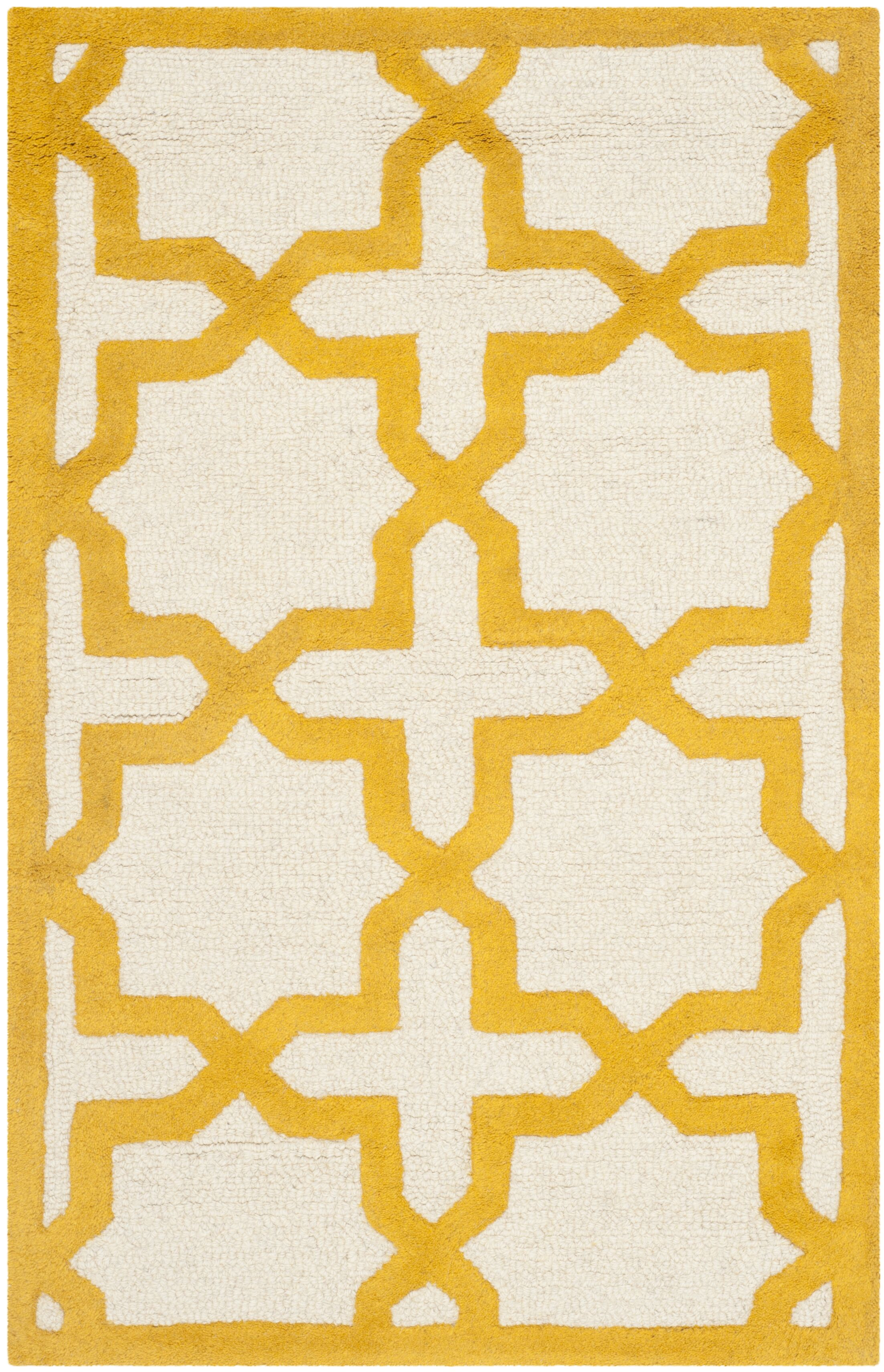 Martins Ivory/Gold Area Rug Rug Size: Rectangle 5' x 8'