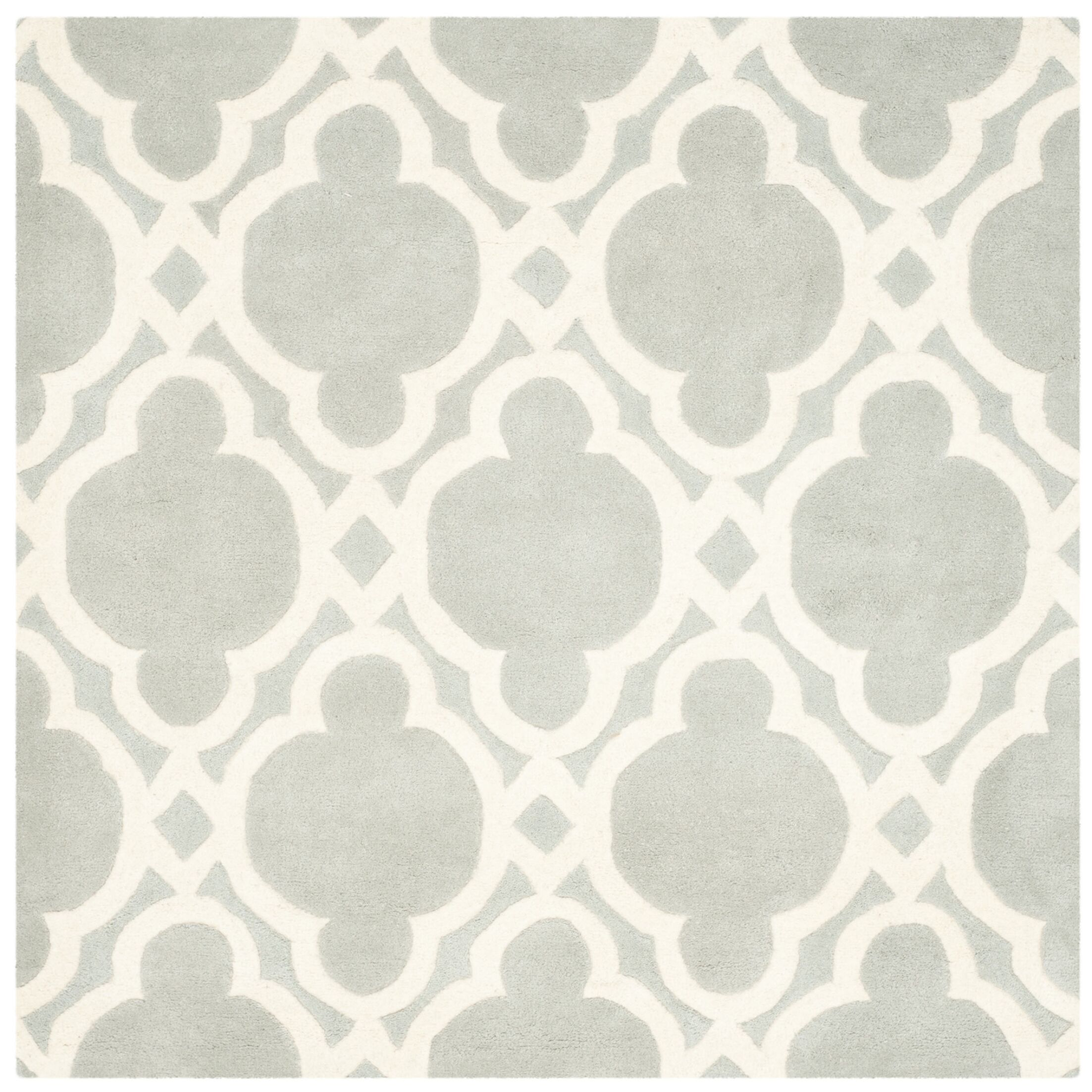 Wilkin Hand-Woven Wool Gray/Ivory Area Rug Rug Size: Square 5'