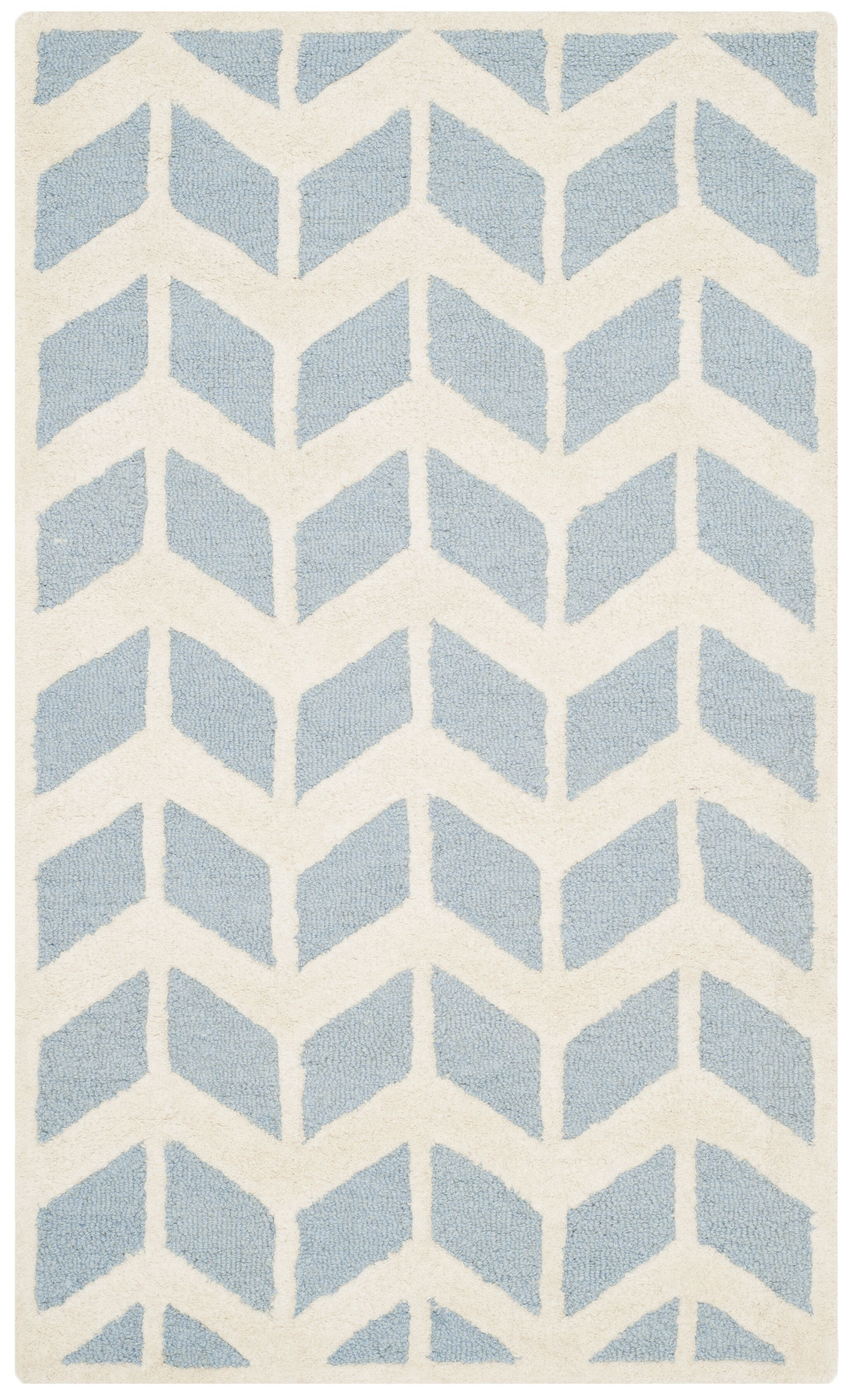 Martins Blue/Ivory Area Rug Rug Size: Rectangle 8' x 10'