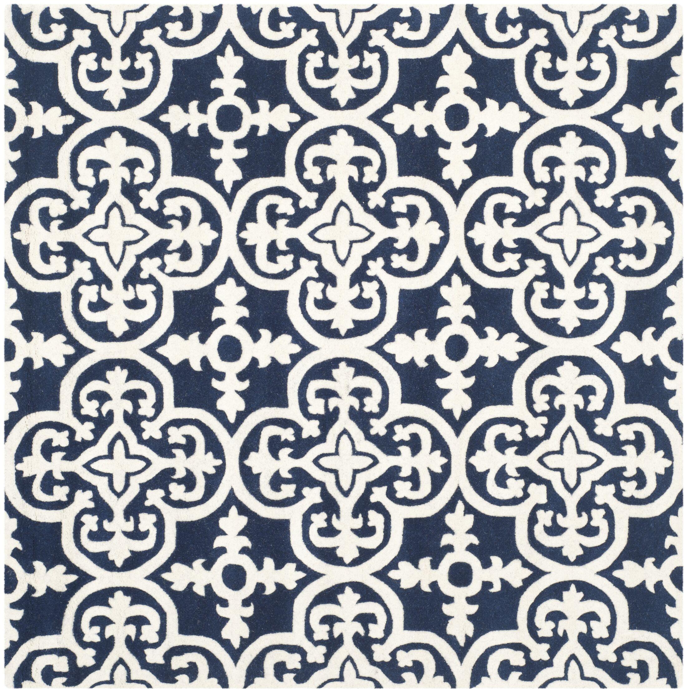 Wilkin Dark Blue/Ivory Area Rug Rug Size: Square 5'