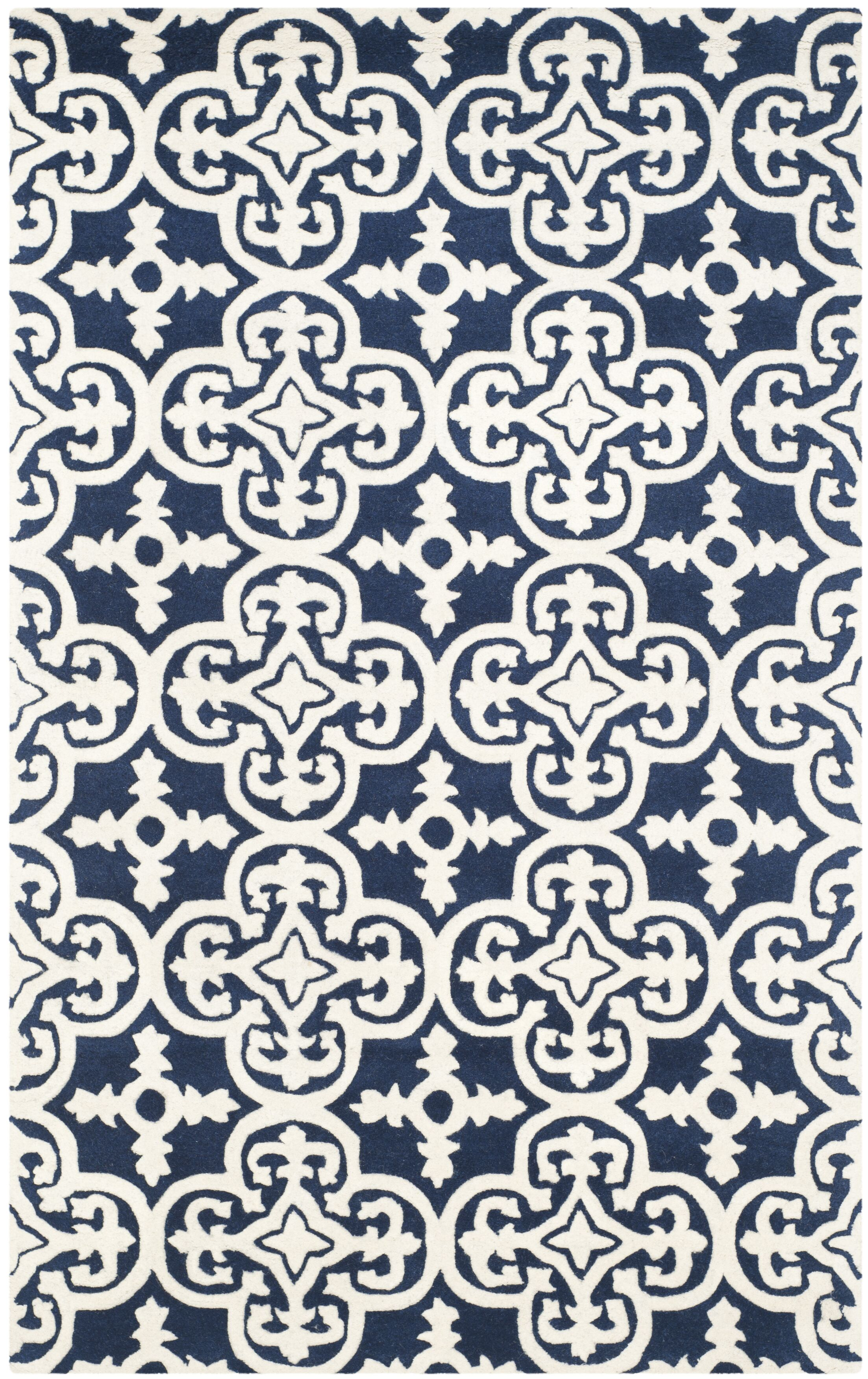 Wilkin Dark Blue/Ivory Area Rug Rug Size: Rectangle 8' x 10'