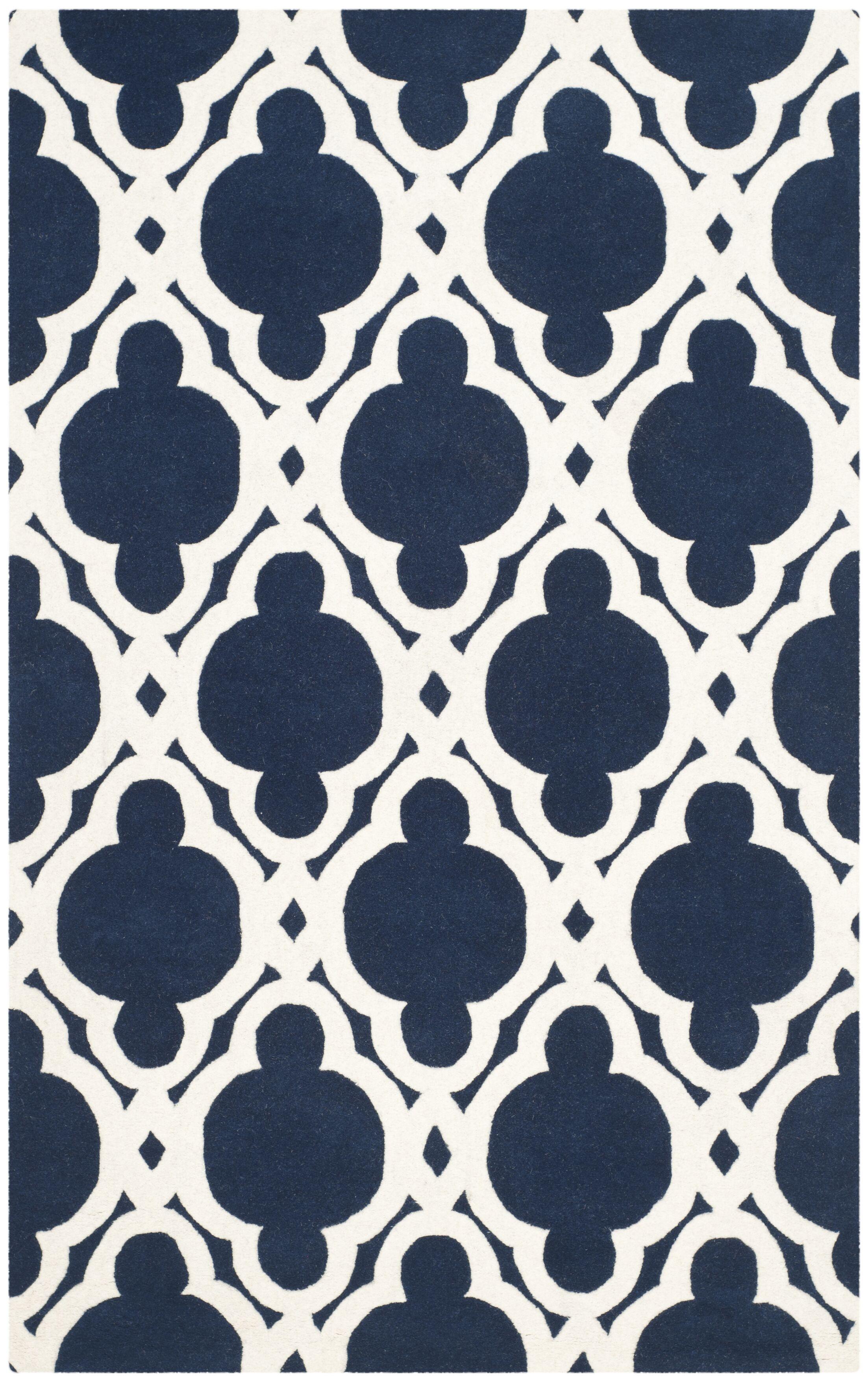 Wilkin Dark Blue/Ivory Area Rug Rug Size: Rectangle 3' x 5'