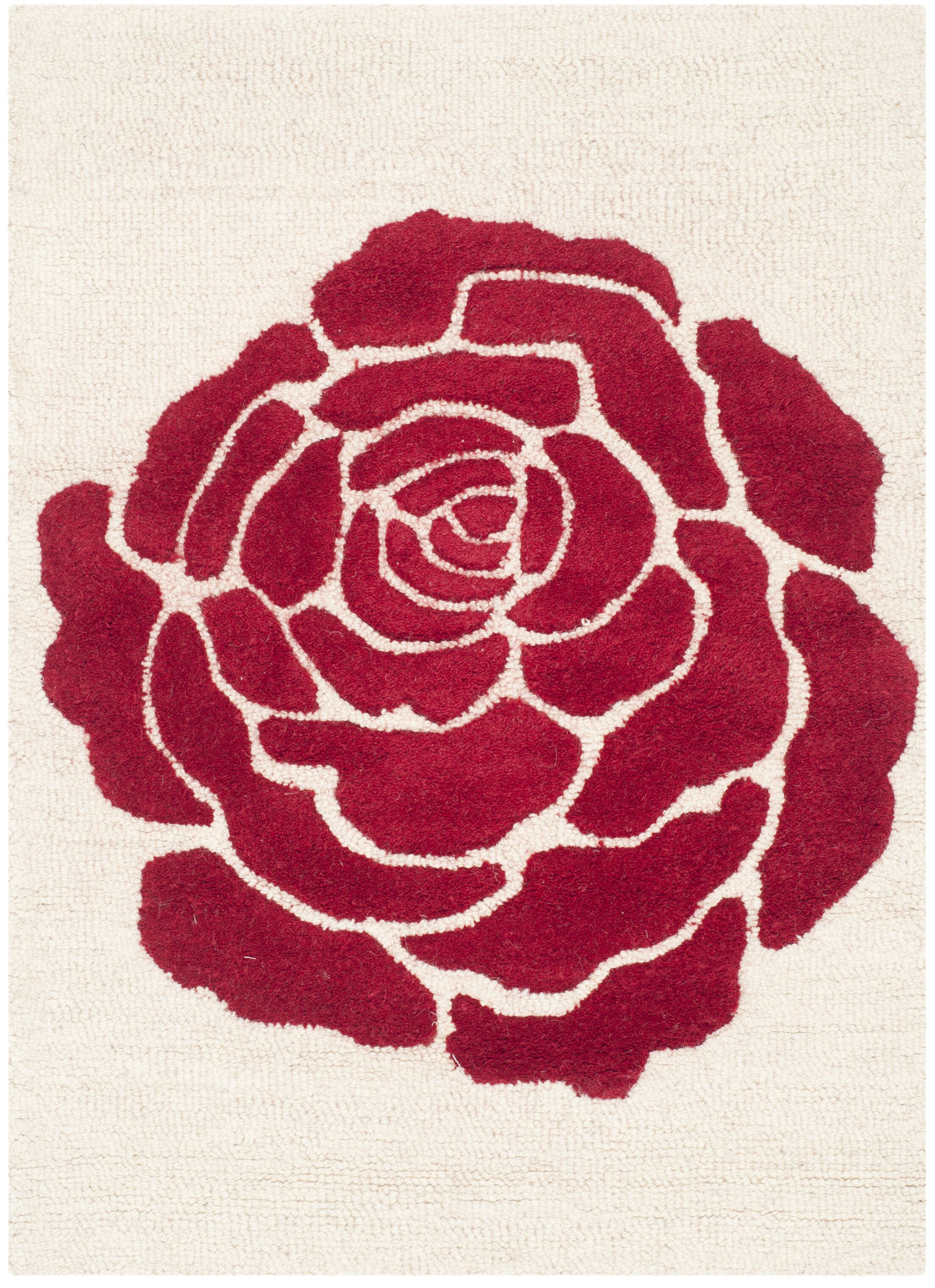Martins Ivory/Red Area Rug Rug Size: Rectangle 5' x 8'