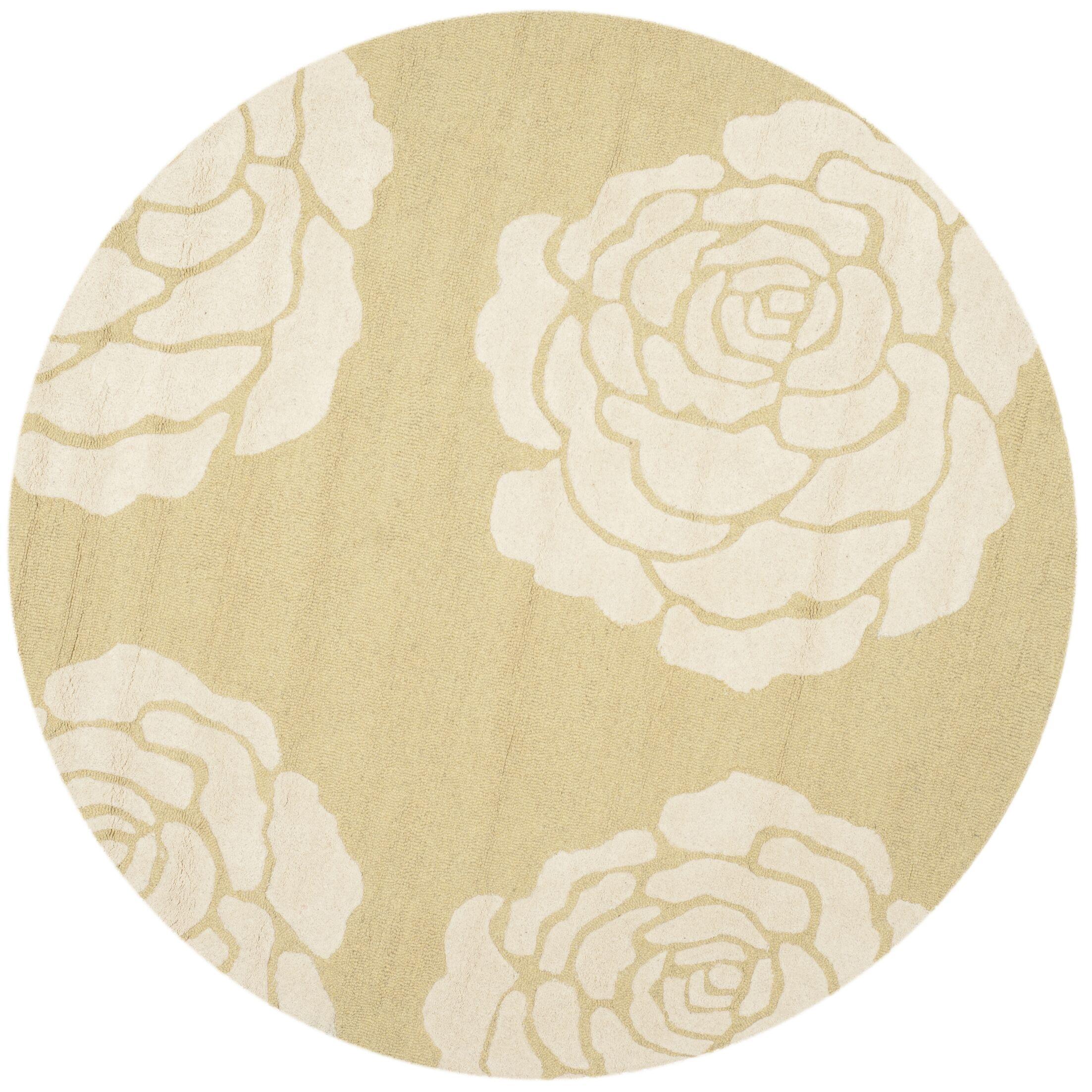 Martins Light Gold/Ivory Area Rug Rug Size: Round 6'