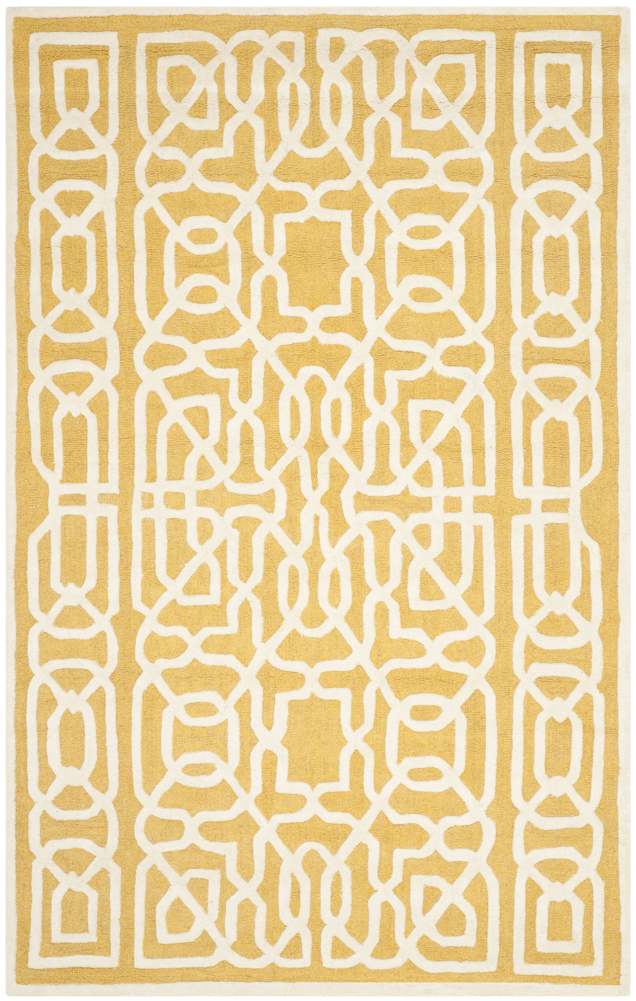 Martins Gold / Ivory Area Rug Rug Size: Rectangle 8' x 10'