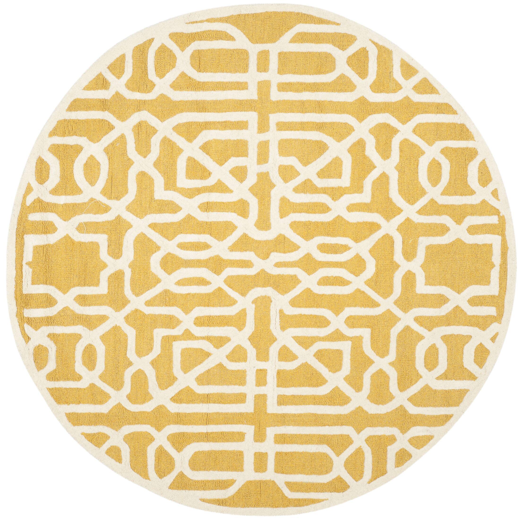 Martins Gold / Ivory Area Rug Rug Size: Round 6'