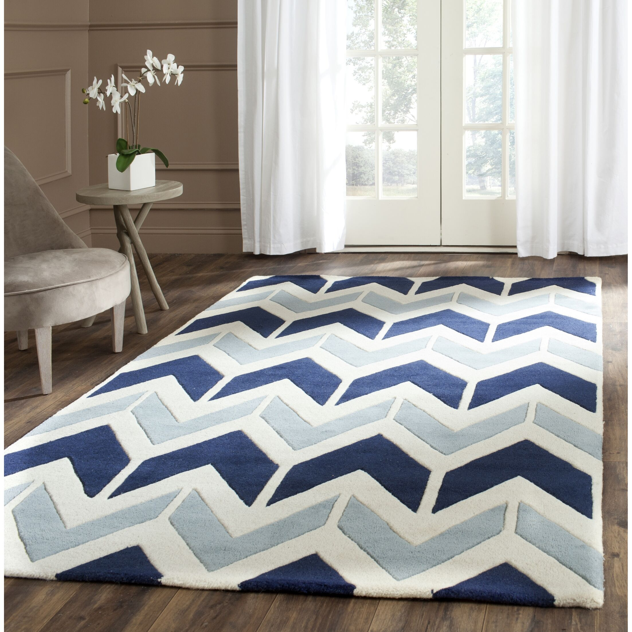 Wilkin Dark Blue / Light Blue Area Rug Rug Size: Rectangle 3' x 5'