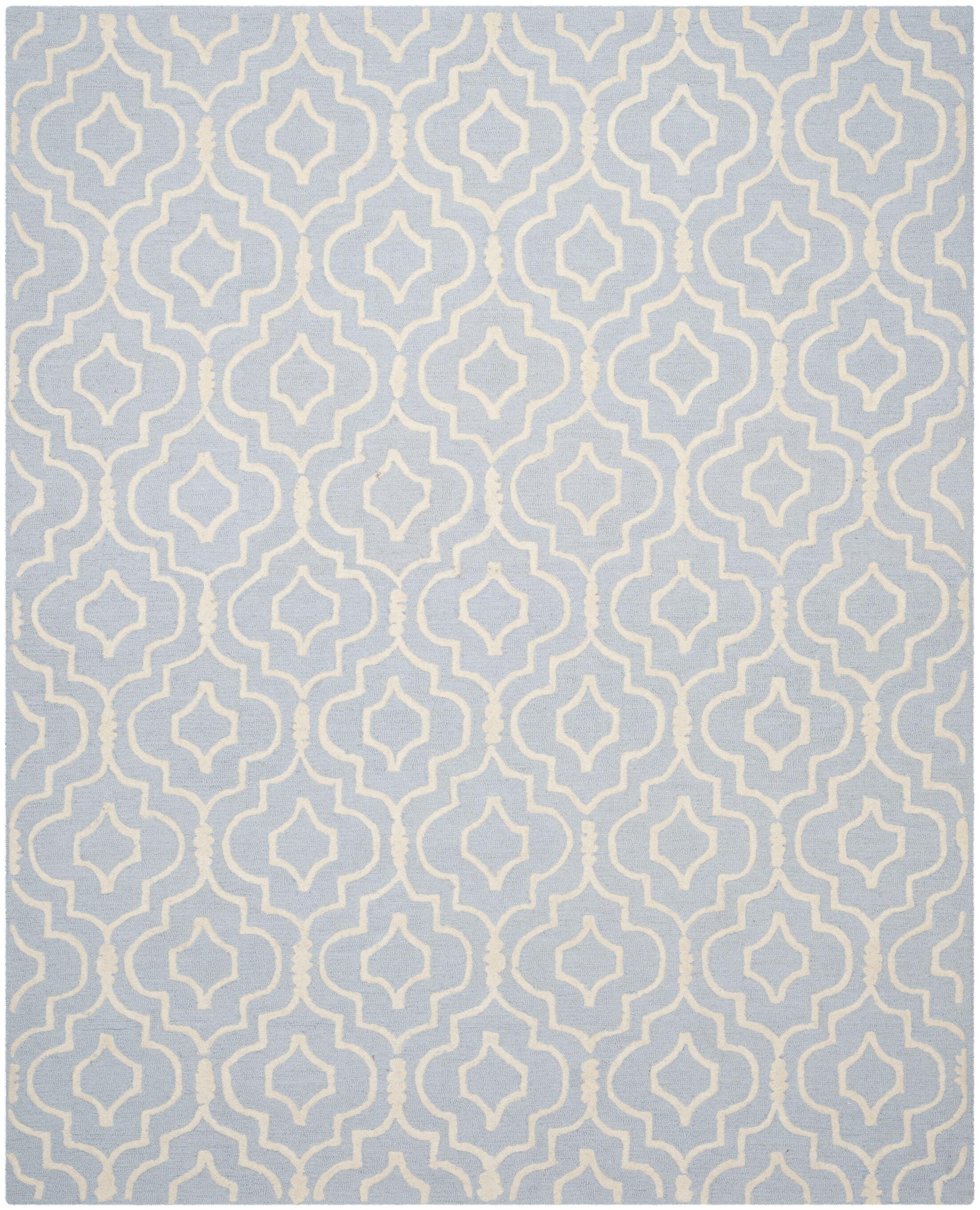 Martins Hand-Tufted Light Blue/Ivory Area Rug Rug Size: Rectangle 8' x 10'