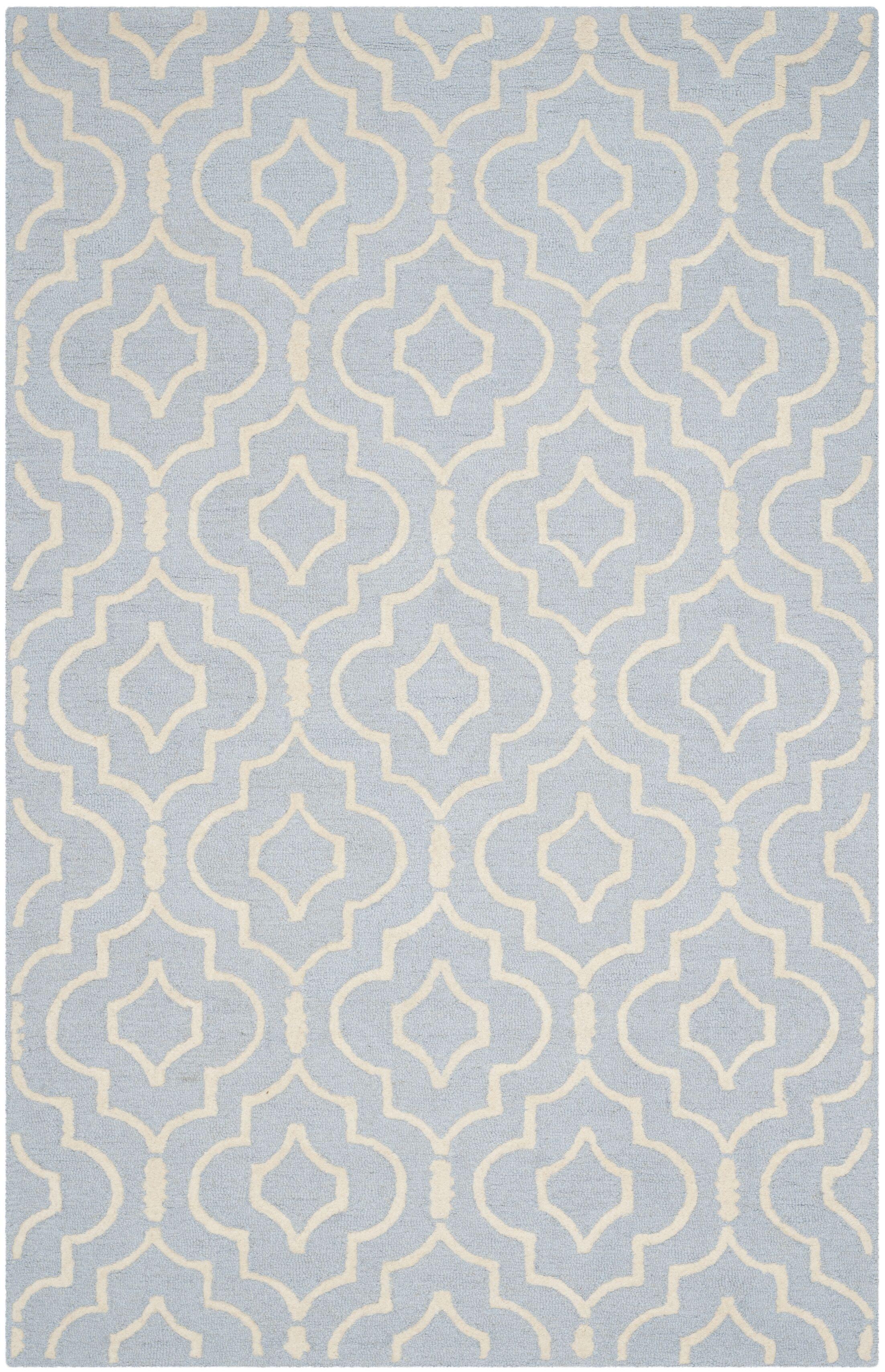 Martins Hand-Tufted Light Blue/Ivory Area Rug Rug Size: Rectangle 4' x 6'