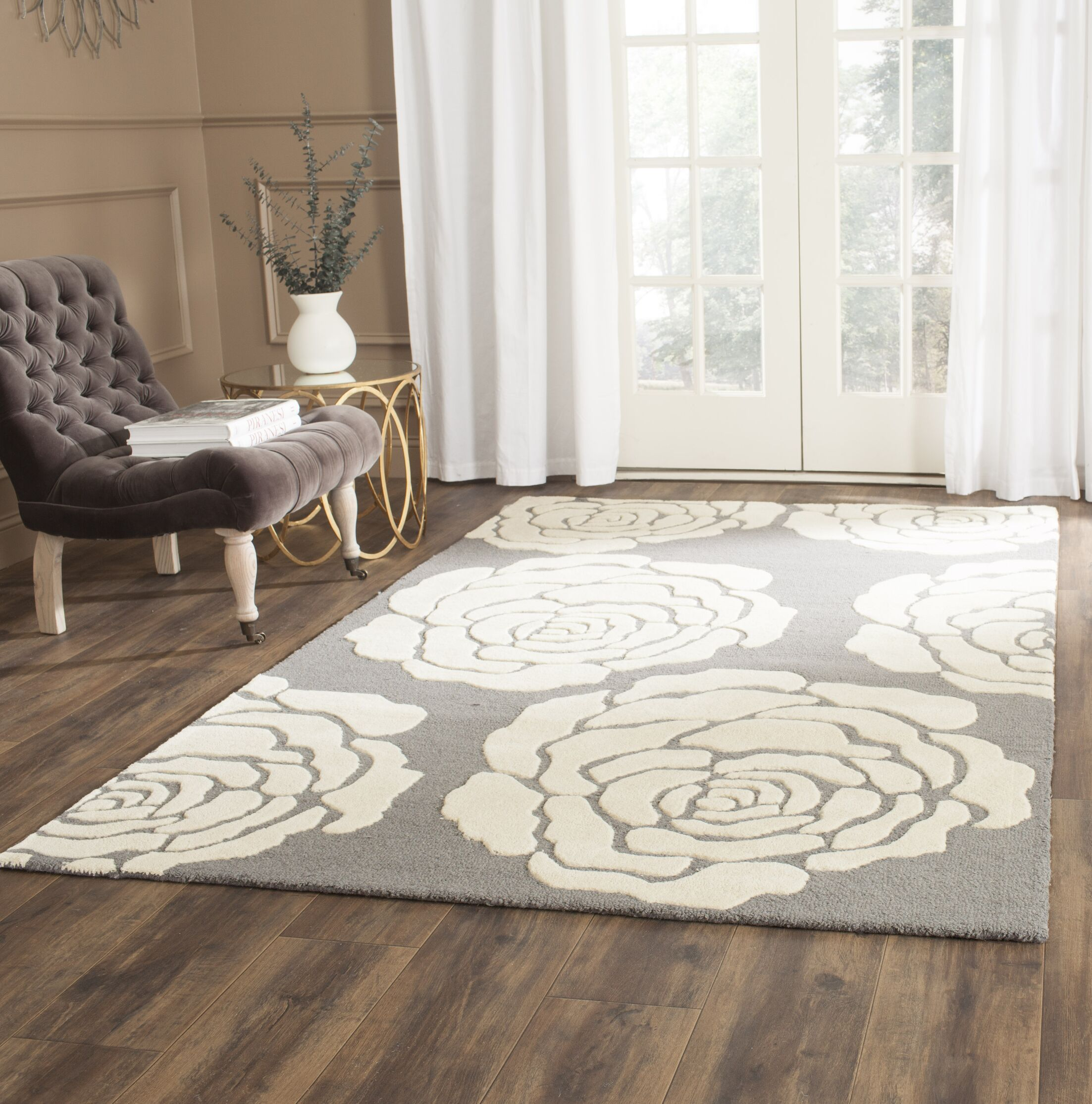 Martins Dark Gray / Ivory Area Rug Rug Size: Rectangle 6' x 9'