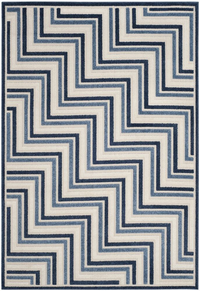 Holly Cream/Blue Indoor/Outdoor Area Rug Rug Size: Square 6'7
