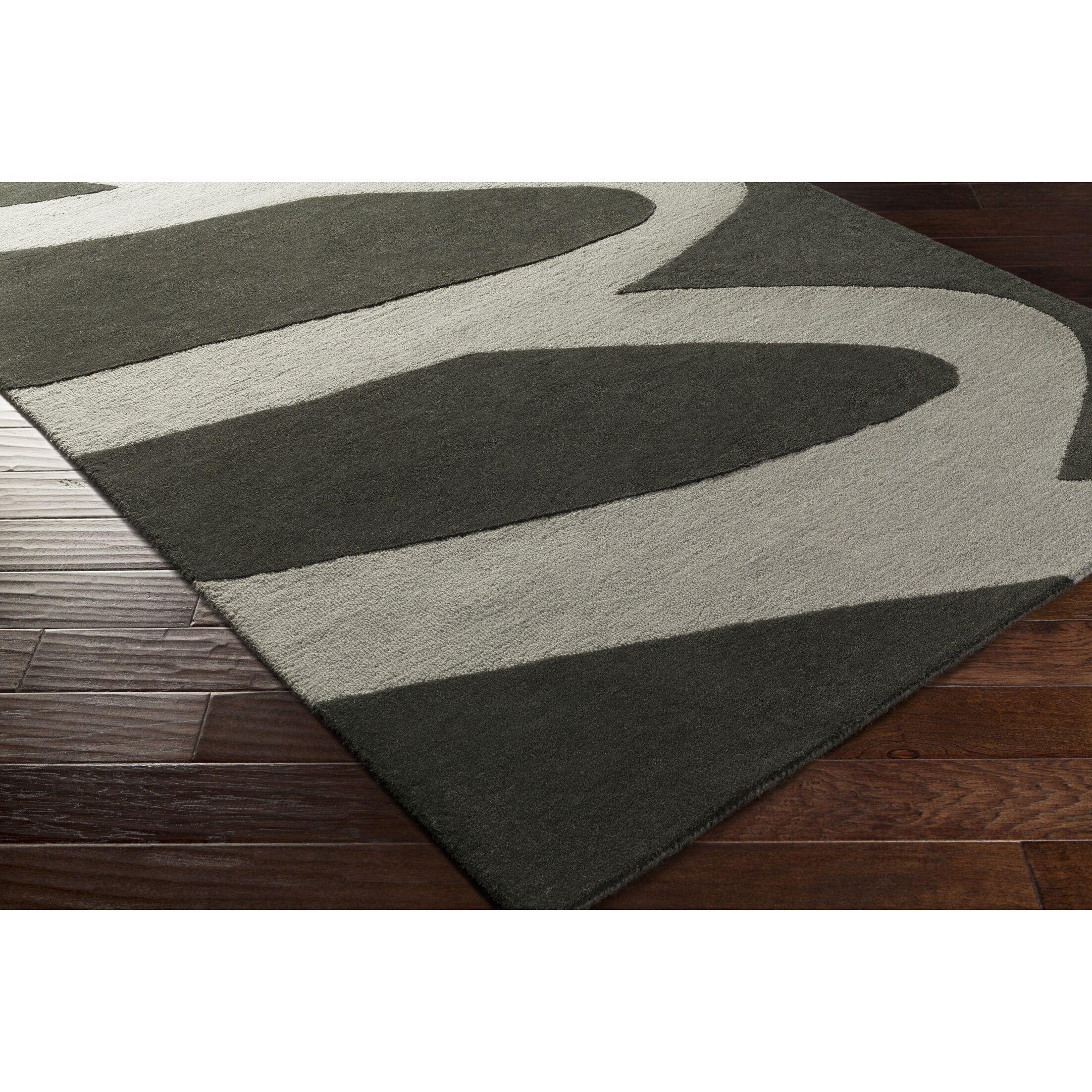 Nida Hand-Tufted Black/Gray Area Rug Rug Size: Rectangle 8' x 10'