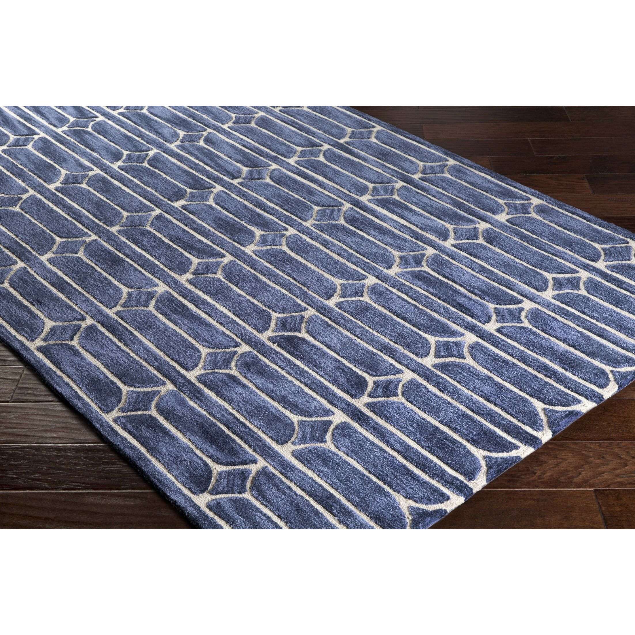 Moultry Hand-Tufted Blue Area Rug Rug Size: Rectangle 8' x 10'