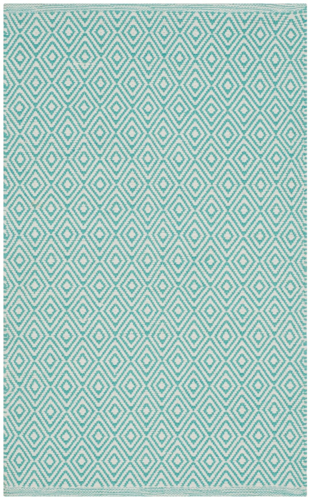 Sessums Hand-Woven Ivory/Aqua Area Rug Rug Size: Rectangle 4' x 6'