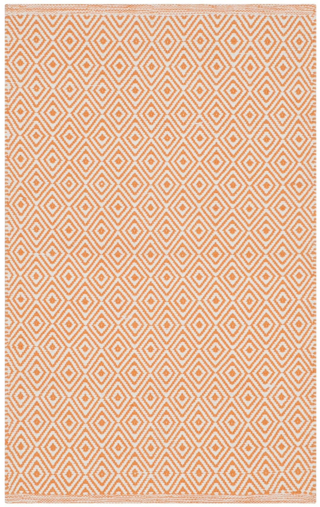 Sessums Hand-Woven Ivory/Rust Area Rug Rug Size: Round 6'