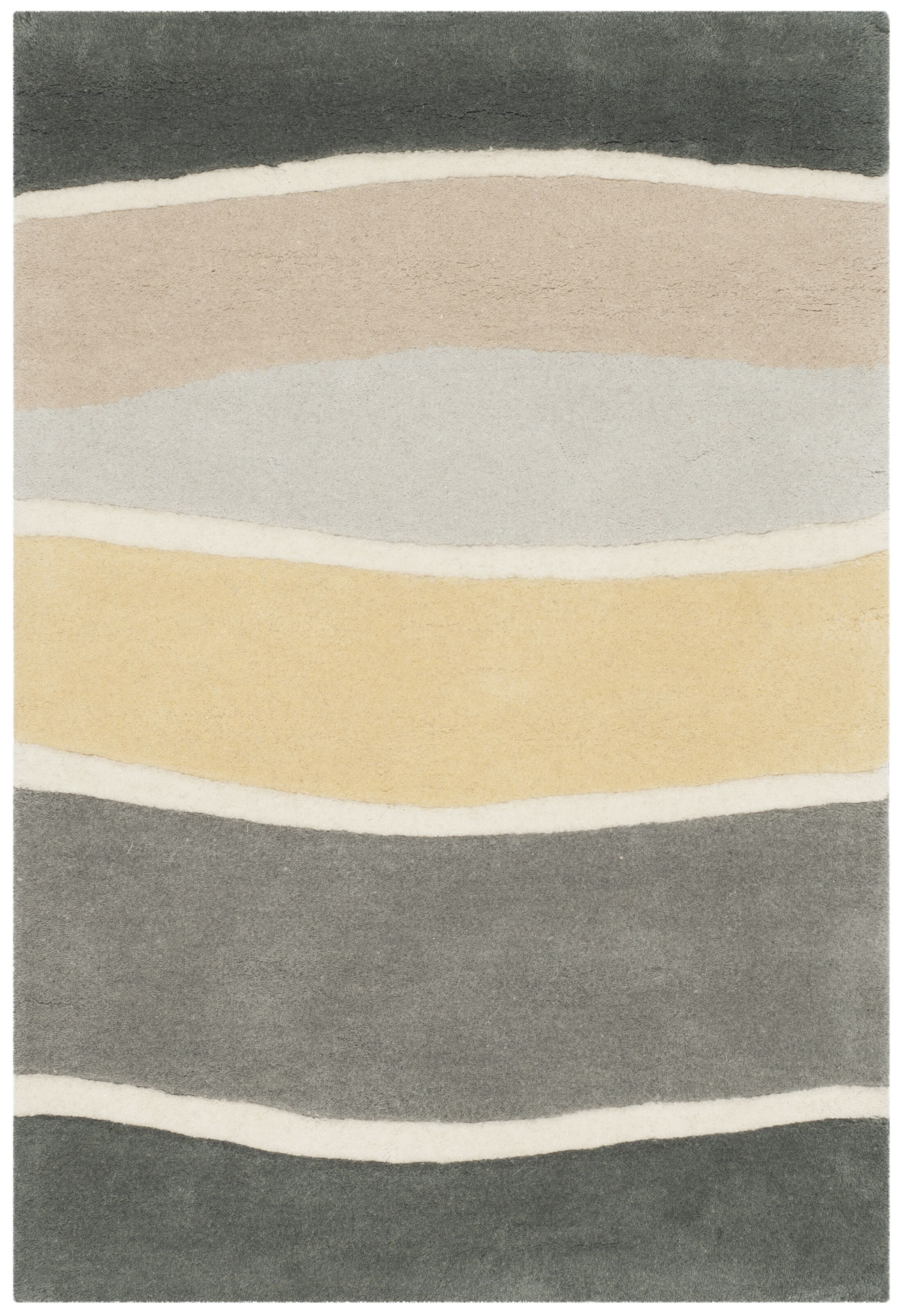 Schaub Hand-Tufted Gray / Gold Area Rug Rug Size: Rectangle 7'6
