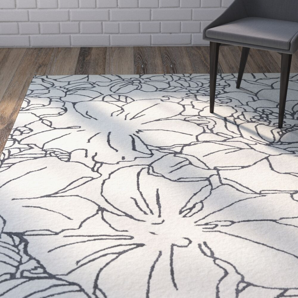 Hand-Tufted Ivory/Grey Area Rug Rug Size: Rectangle 5' x 7'9