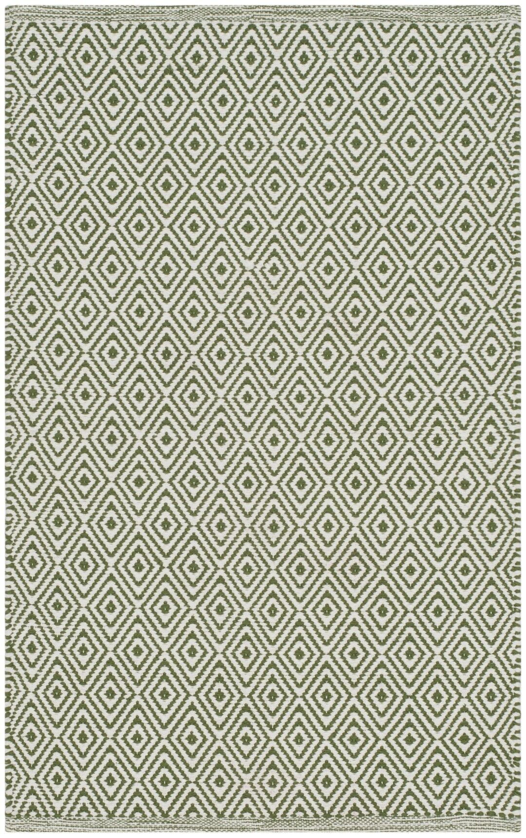 Shevchenko Place Hand-Woven Ivory/Green Area Rug Rug Size: Round 4'