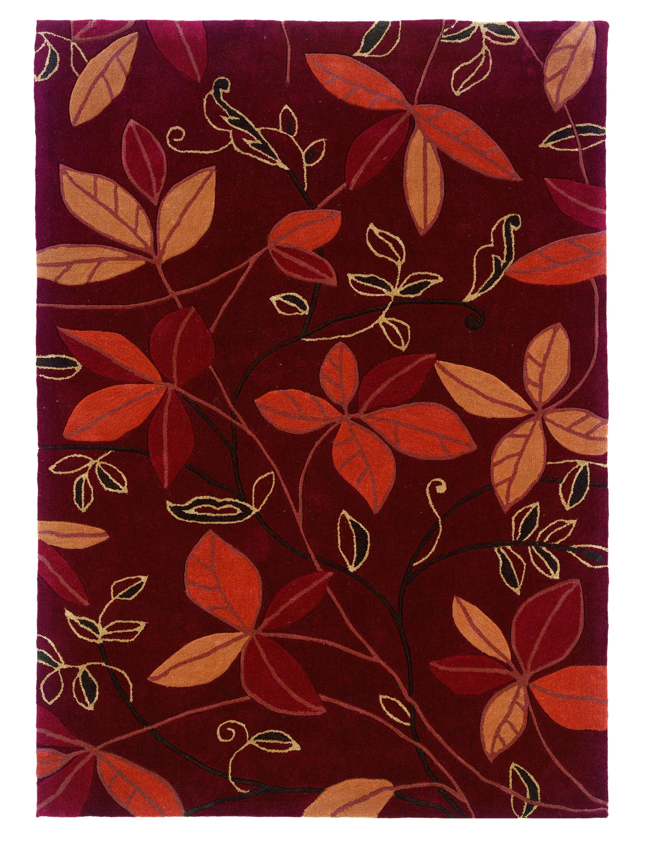 Fugen Modern Hand-Tufted Red Area Rug Rug Size: 5' x 7'